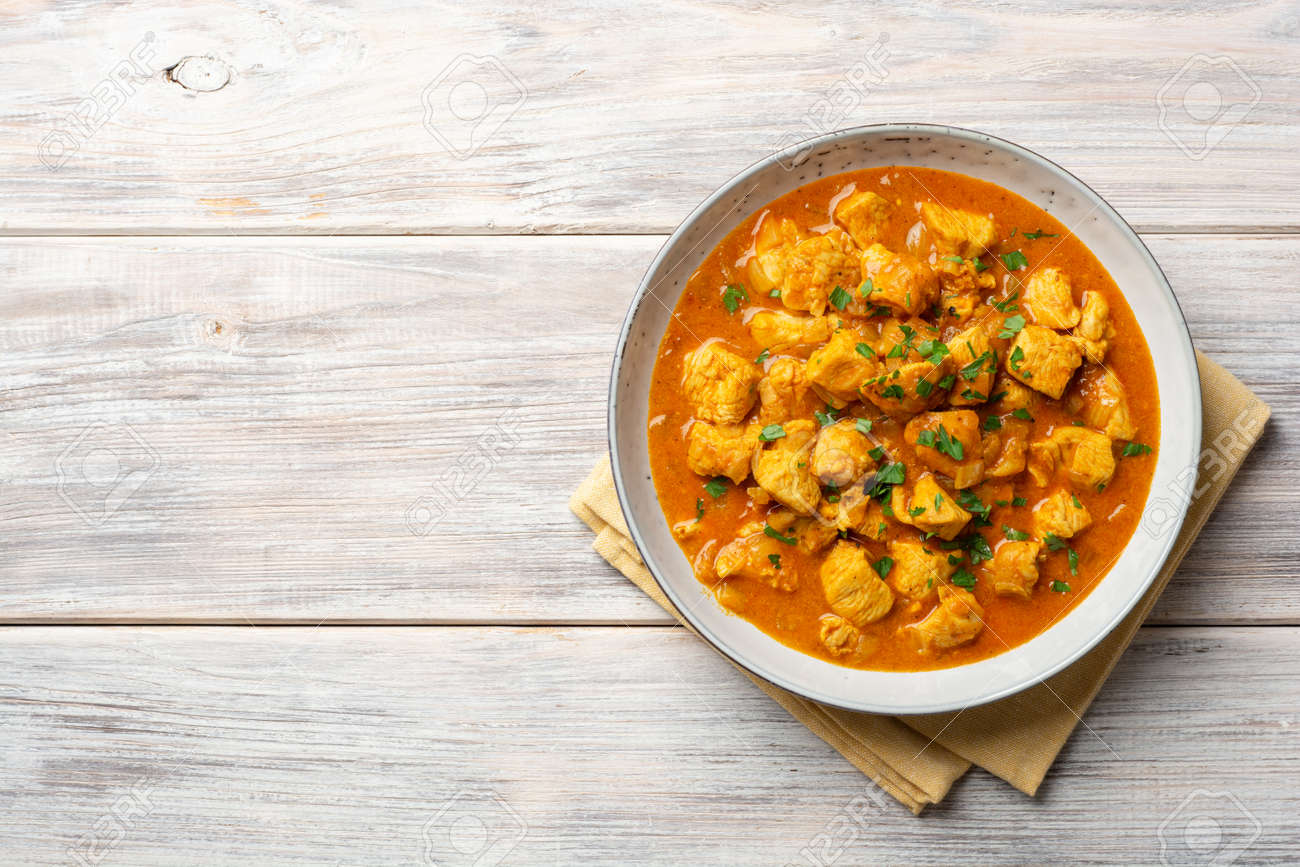 Chicken curry in plate - 169457492