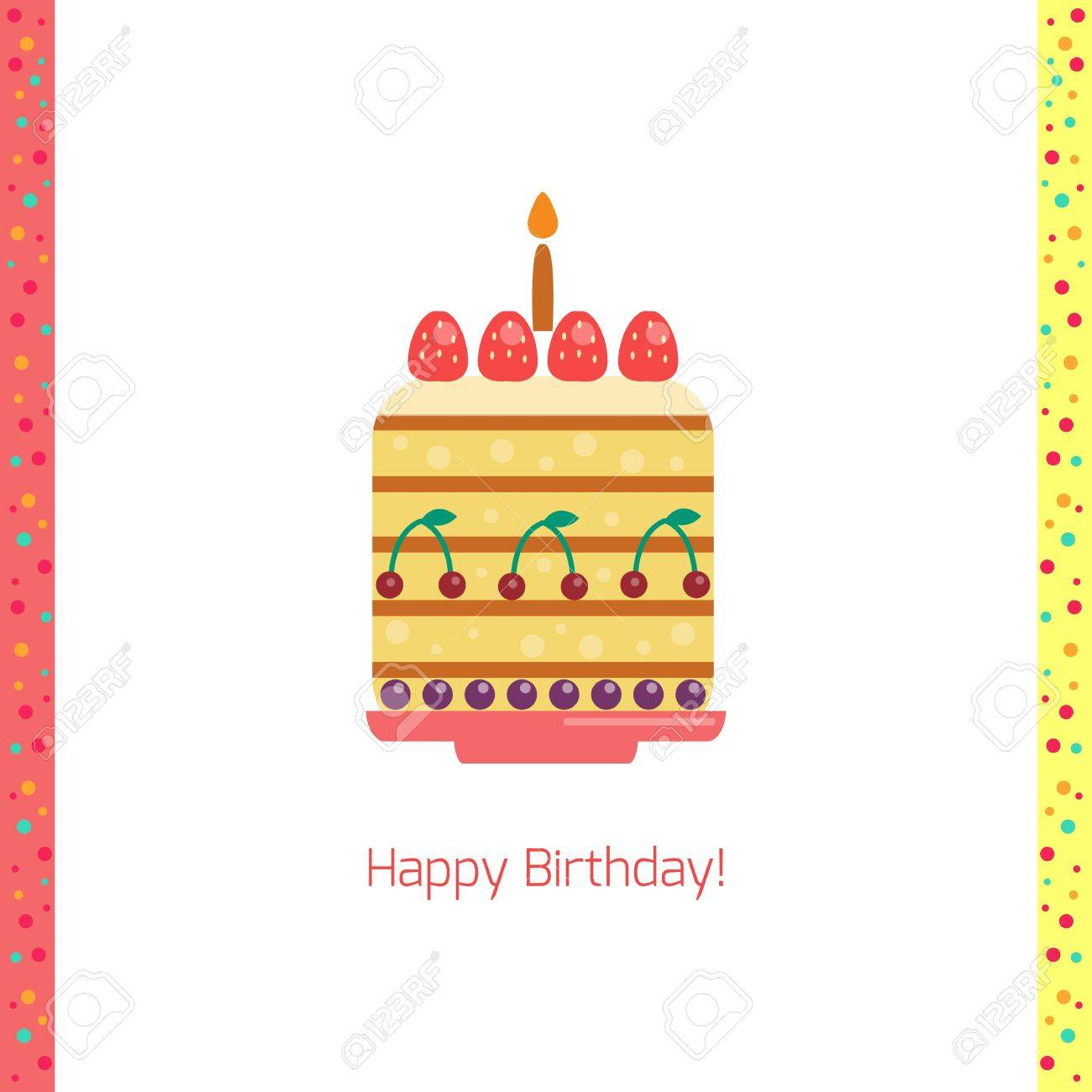 Birthday Cake Flat Icon Isolated White Background Happy Birthday