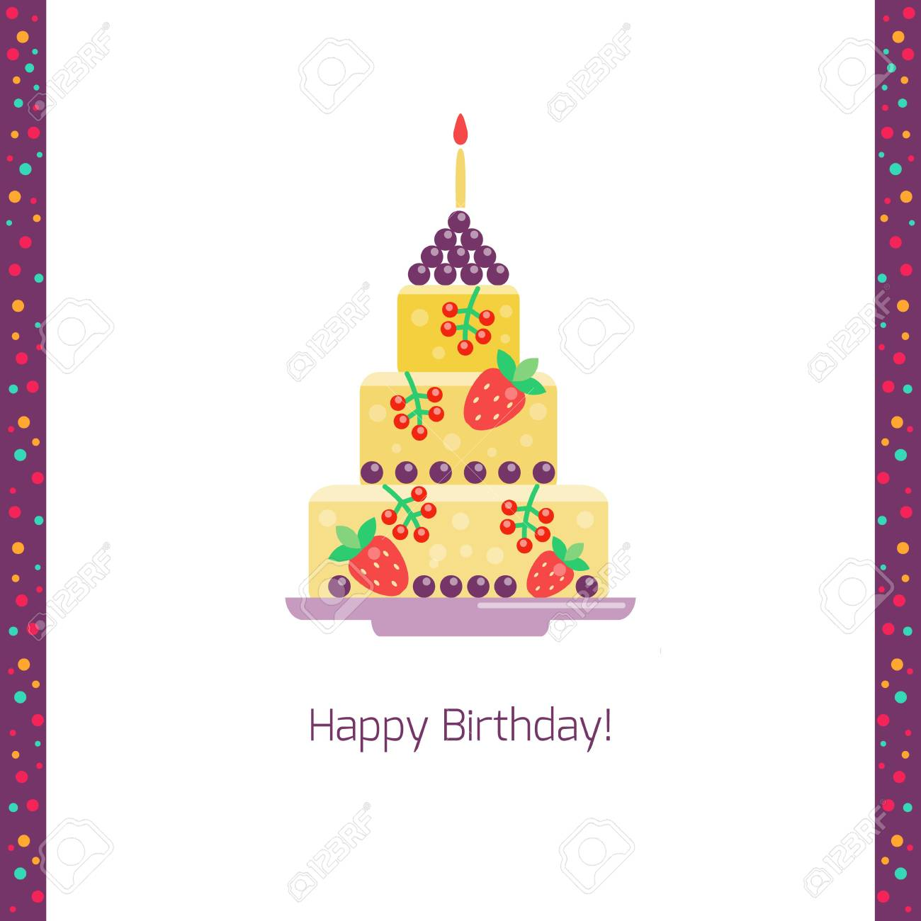 Birthday Cake Flat Icon Isolated White Background Happy Birthday
