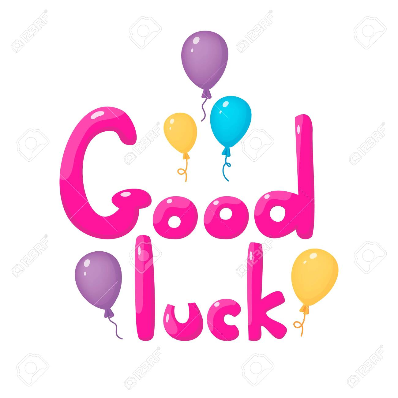 Good luck hand drawn lettering with colorful balloons 3d design...