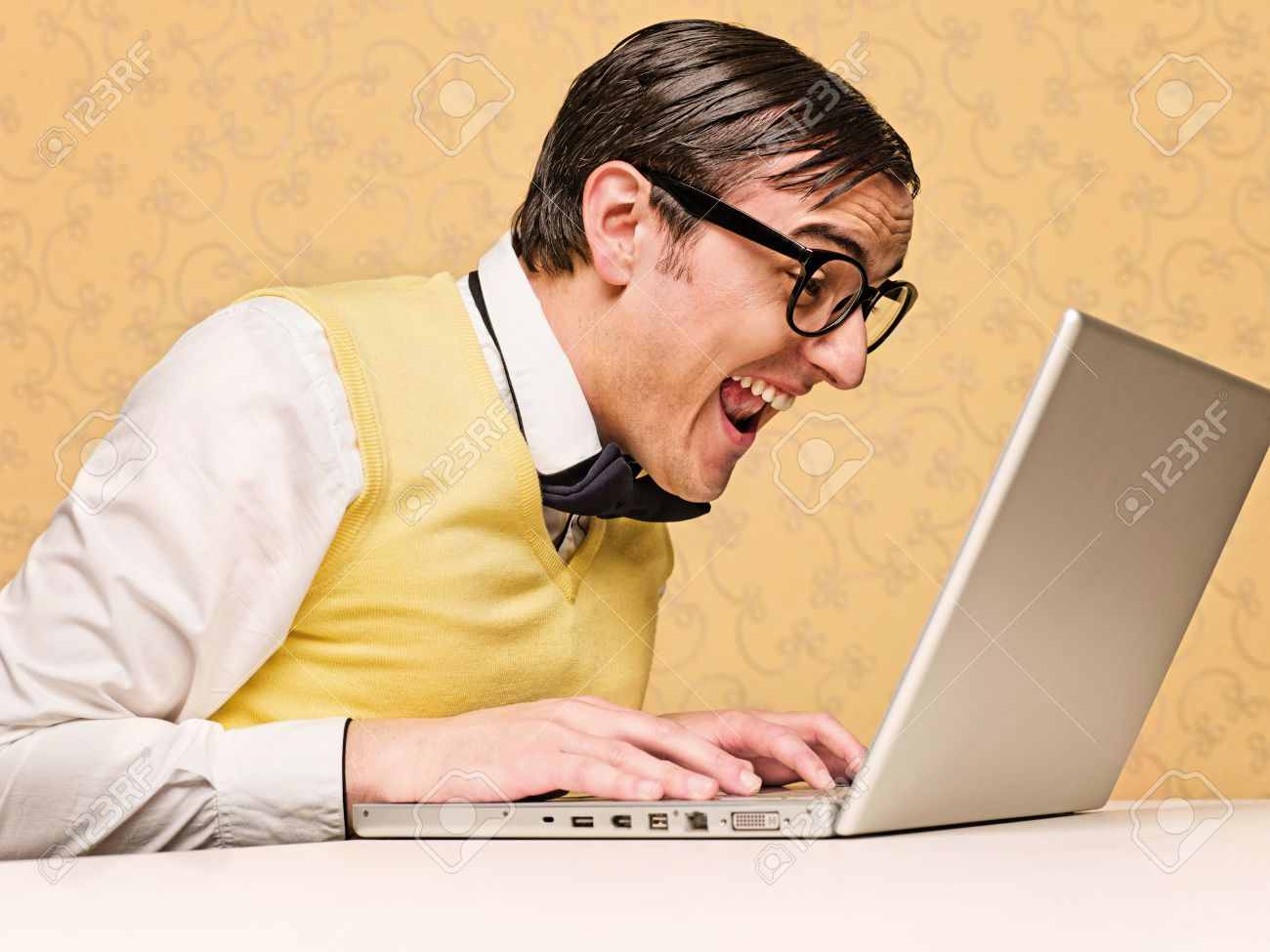 Young Nerd Sitting At The Computer Stock Photo Picture And Royalty