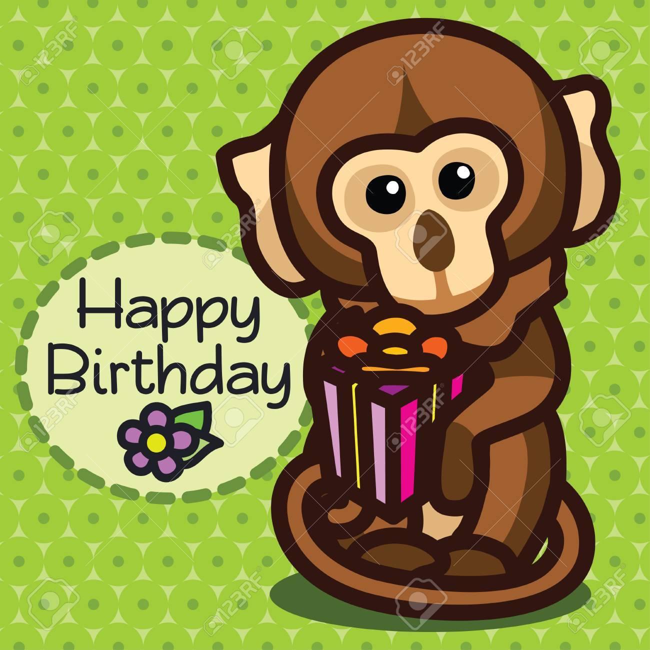 Cute Happy Birthday Card With Fun Monkey Vector Illustration Stock