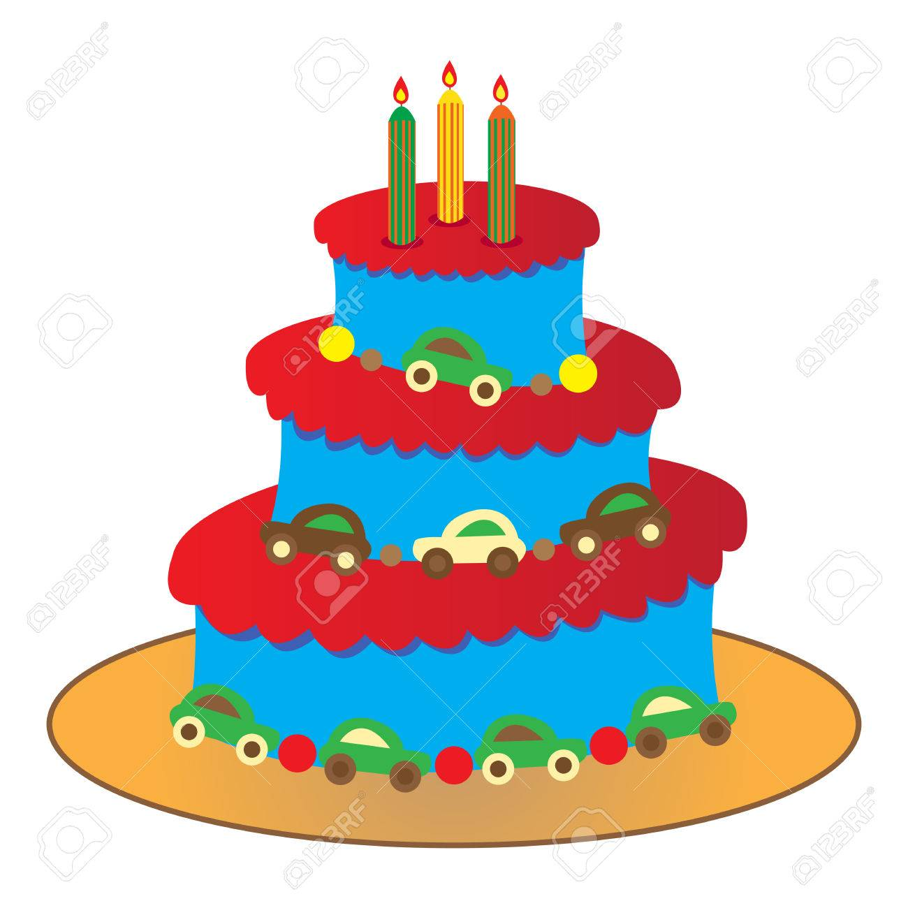 Big Round Birthday Cake For A Boy Isolated On White Stock Vector