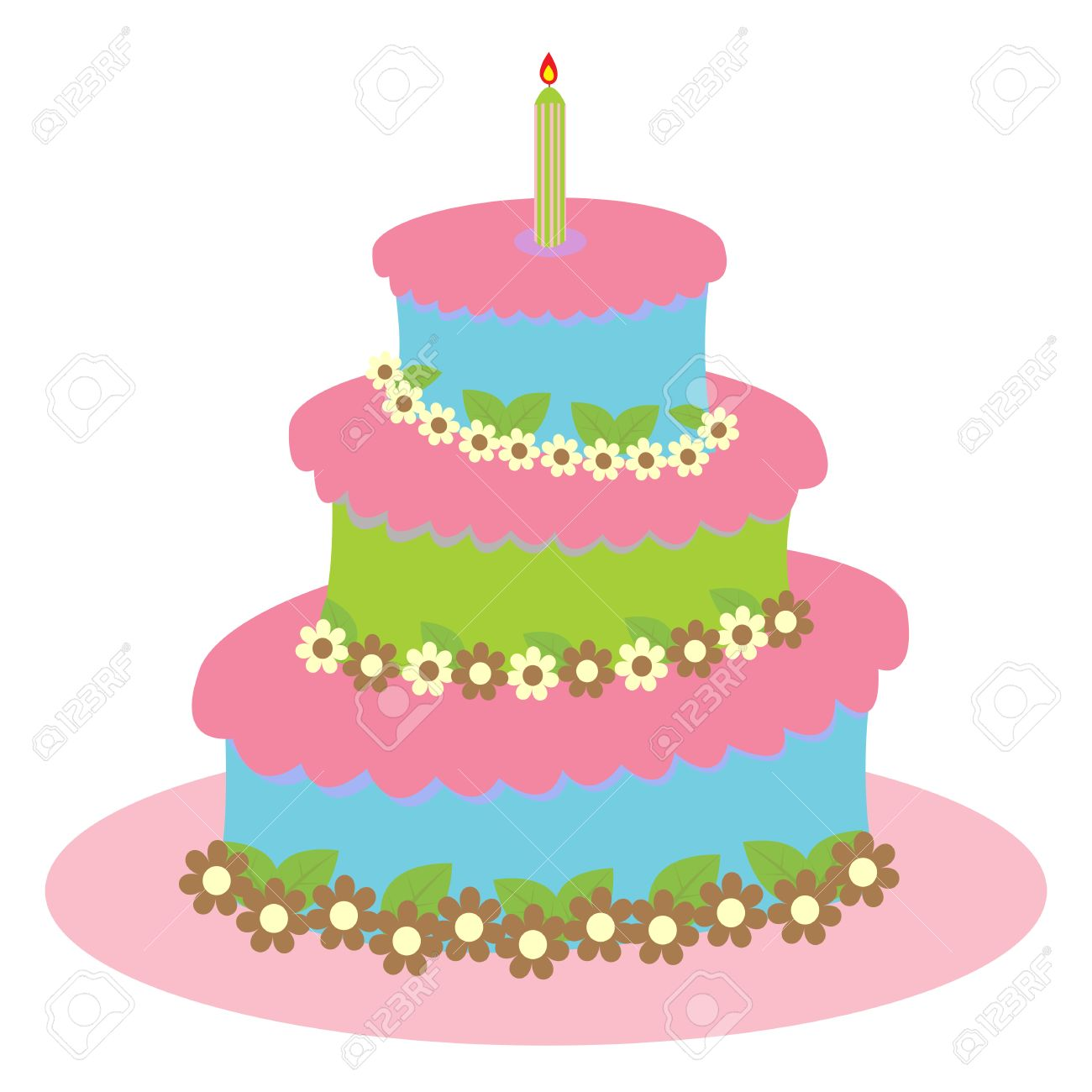Big Round Birthday Cake For A Girl Isolated On White Royalty Free