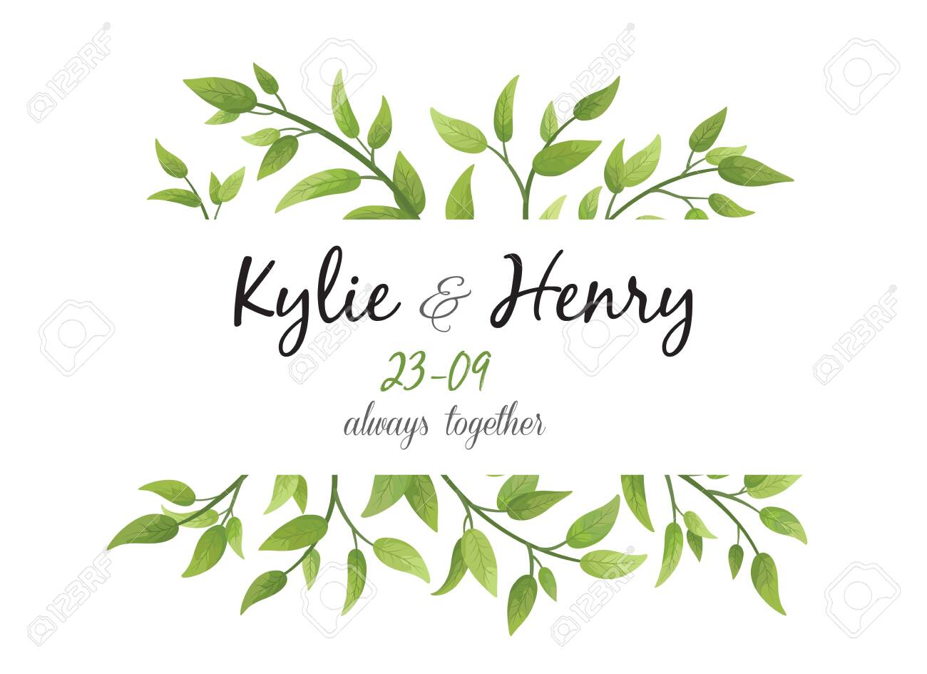 Wedding Invitation, save the date card floral Design with green watercolor fern leaves, foliage greenery decorative frame print. Vector elegant cute rustic greeting, invite, postcard - 151777883