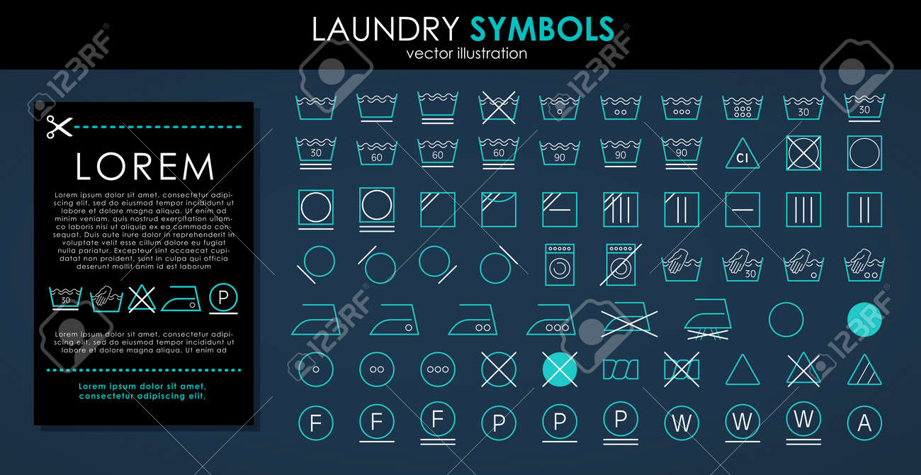 Laundry icons set. Outline set of colors laundry symbols vector icons isolated on black background - 151815707