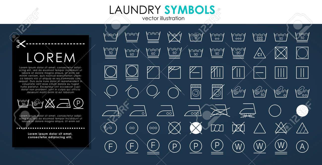 Laundry icons set. Outline set of white laundry symbols vector icons isolated on black background - 151815719
