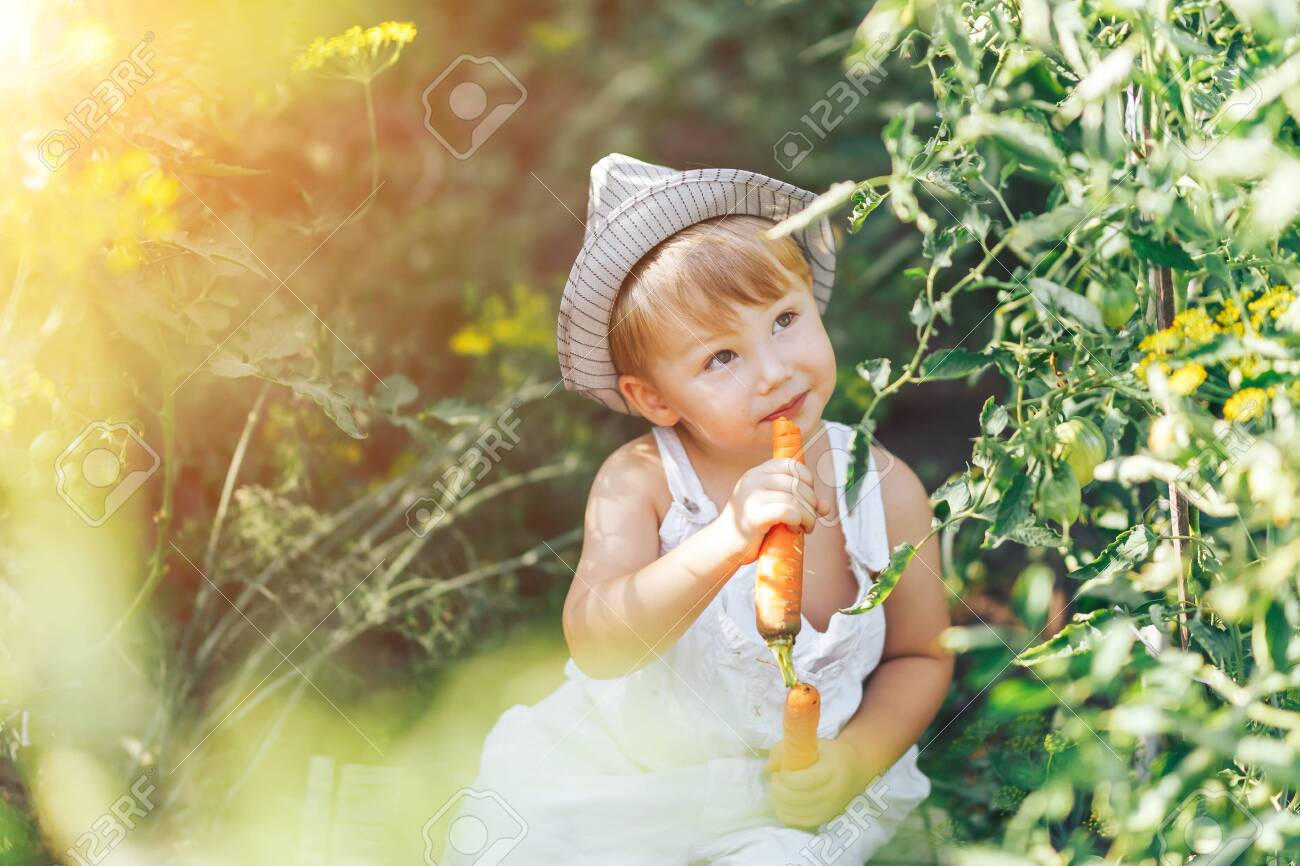 baby farmer with carrots and cacual clother sitting in green grass. - 128456063