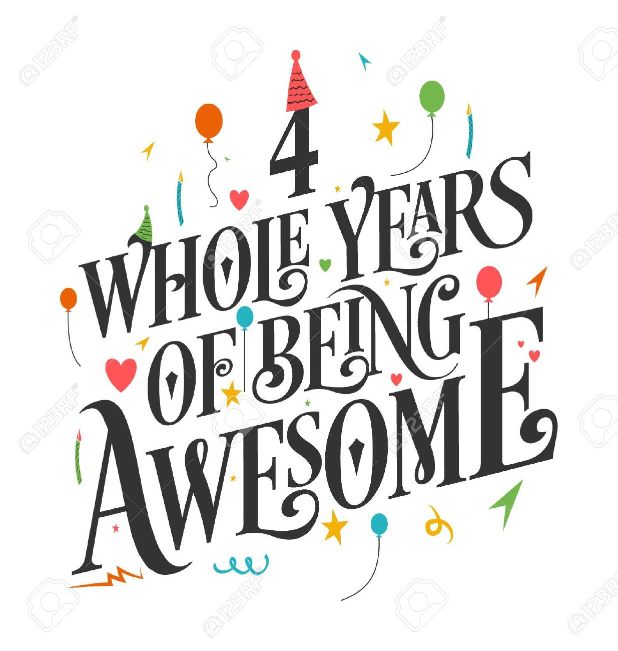 4th Birthday And 4th Wedding Anniversary Typography Design 4 Royalty Free Cliparts Vectors And Stock Illustration Image 138837685