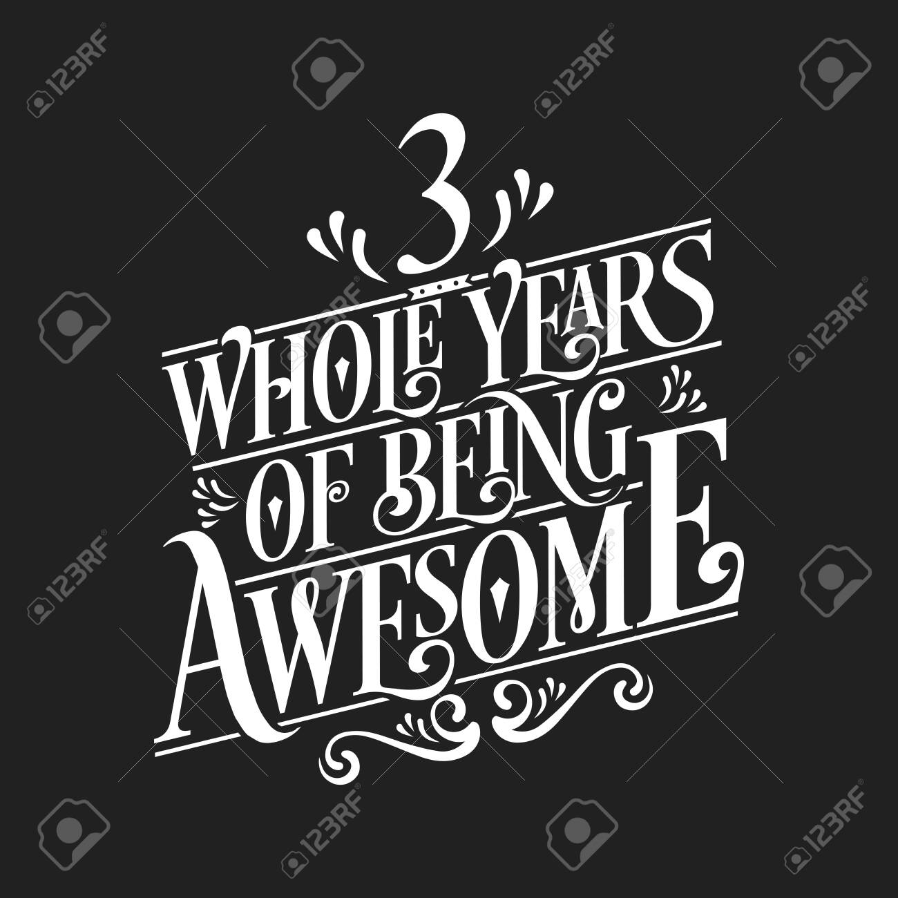 3 Years Birthday And 3 Years Wedding Anniversary Typography Design Royalty Free Cliparts Vectors And Stock Illustration Image 141187620