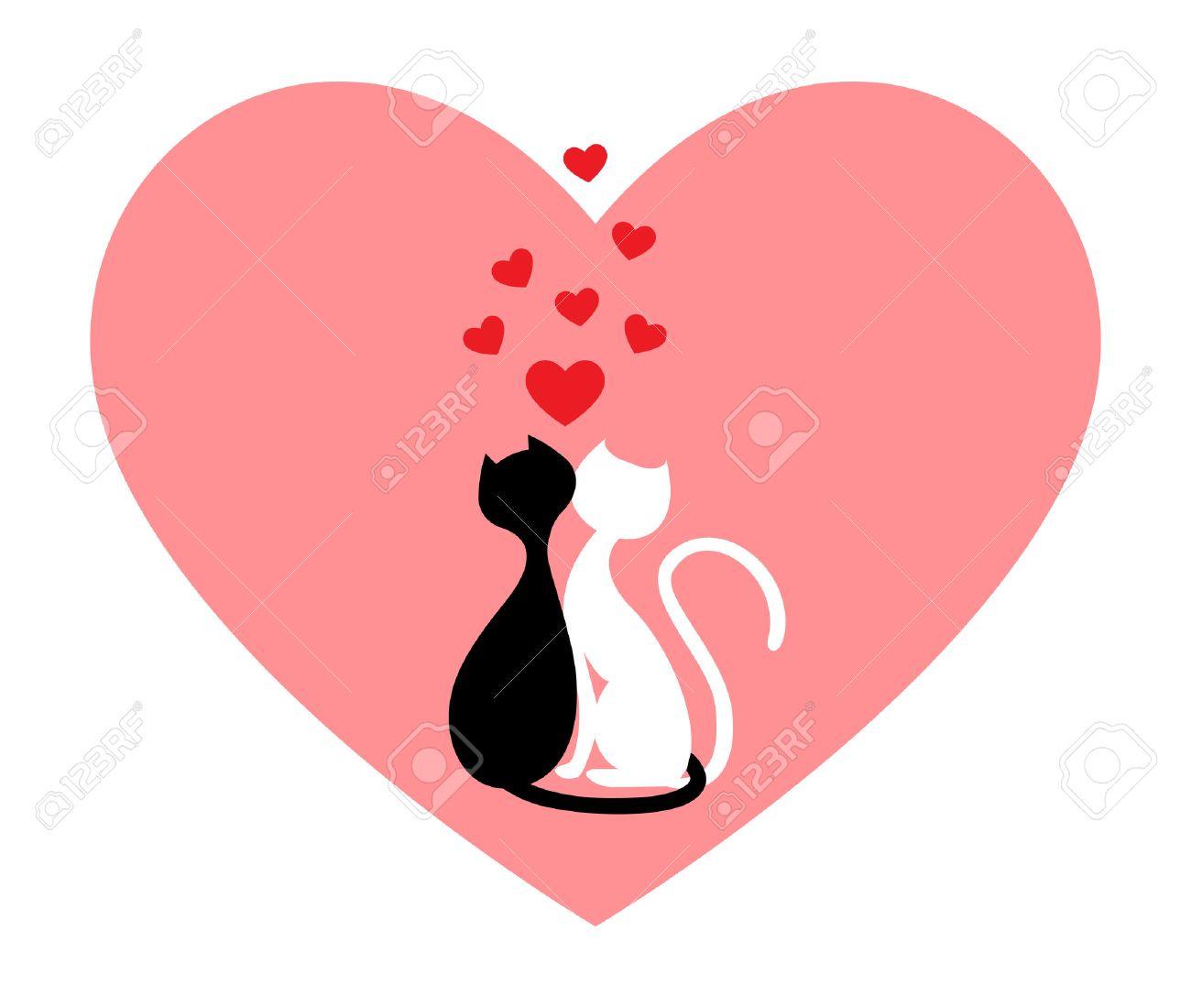 Foto de archivo , Gato negro y gato blanco, lado a lado en corazón Rosa