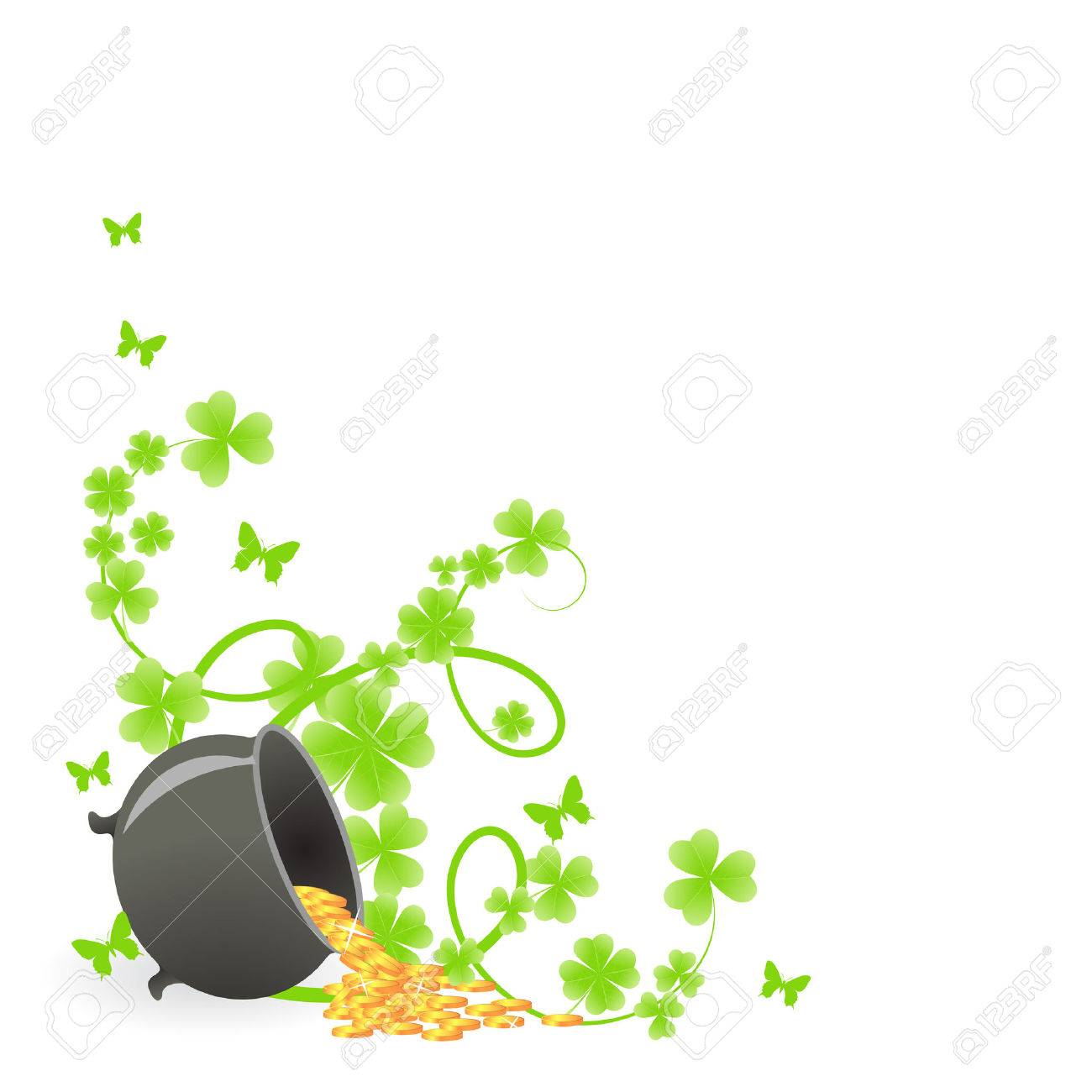 St. Patrick's pattern corner with green shamrock vignette and pot of gold Stock Vector - 6176033