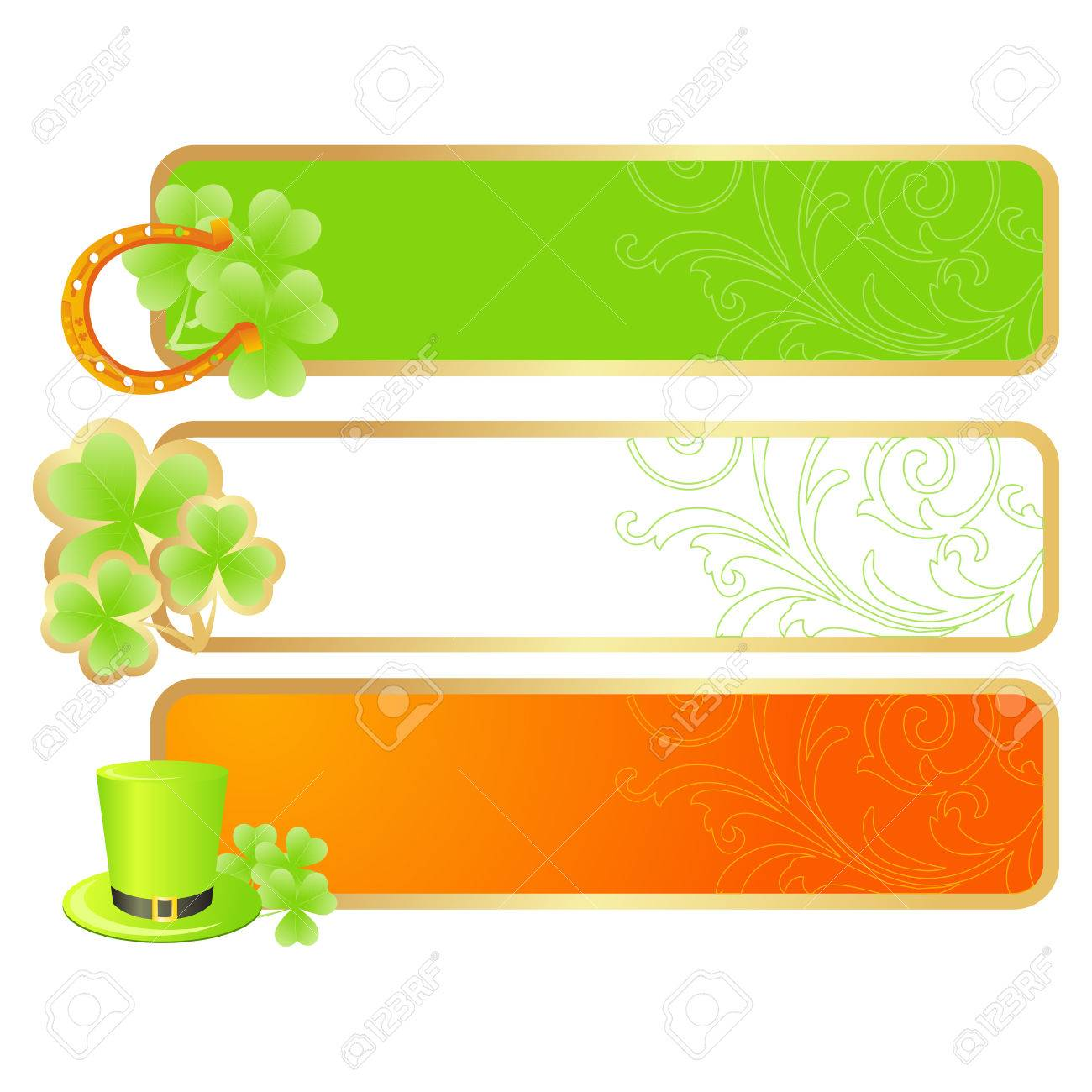 Banners for St. Patrick's day in Irish flag colors and holiday symbols - Leprechaun hat, pot of gold and horseshoe Stock Vector - 6175986