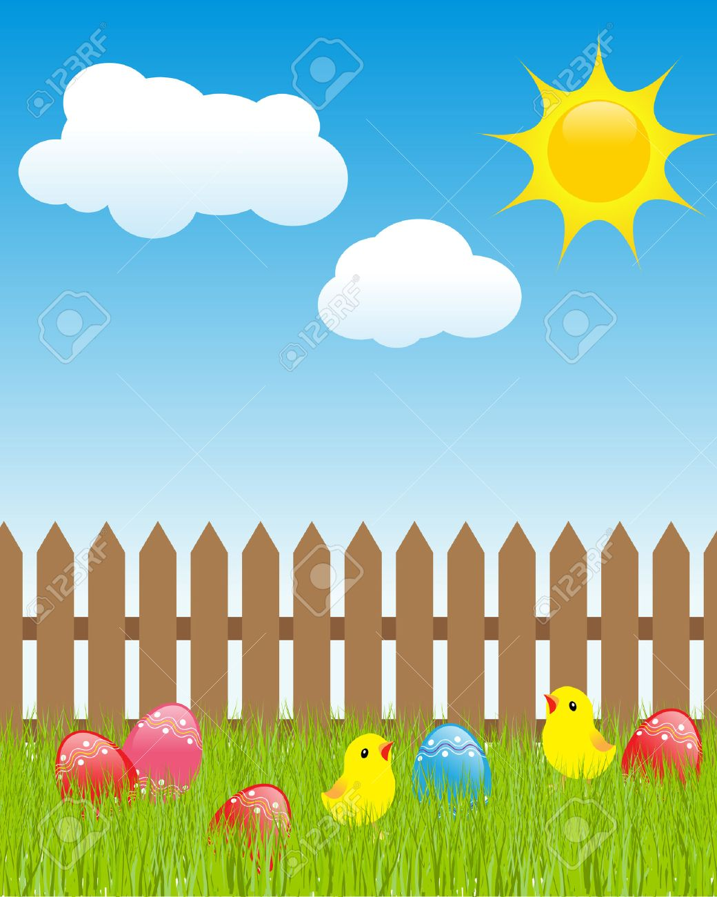 easter landscape colored eggs in green grass cartoon chickens