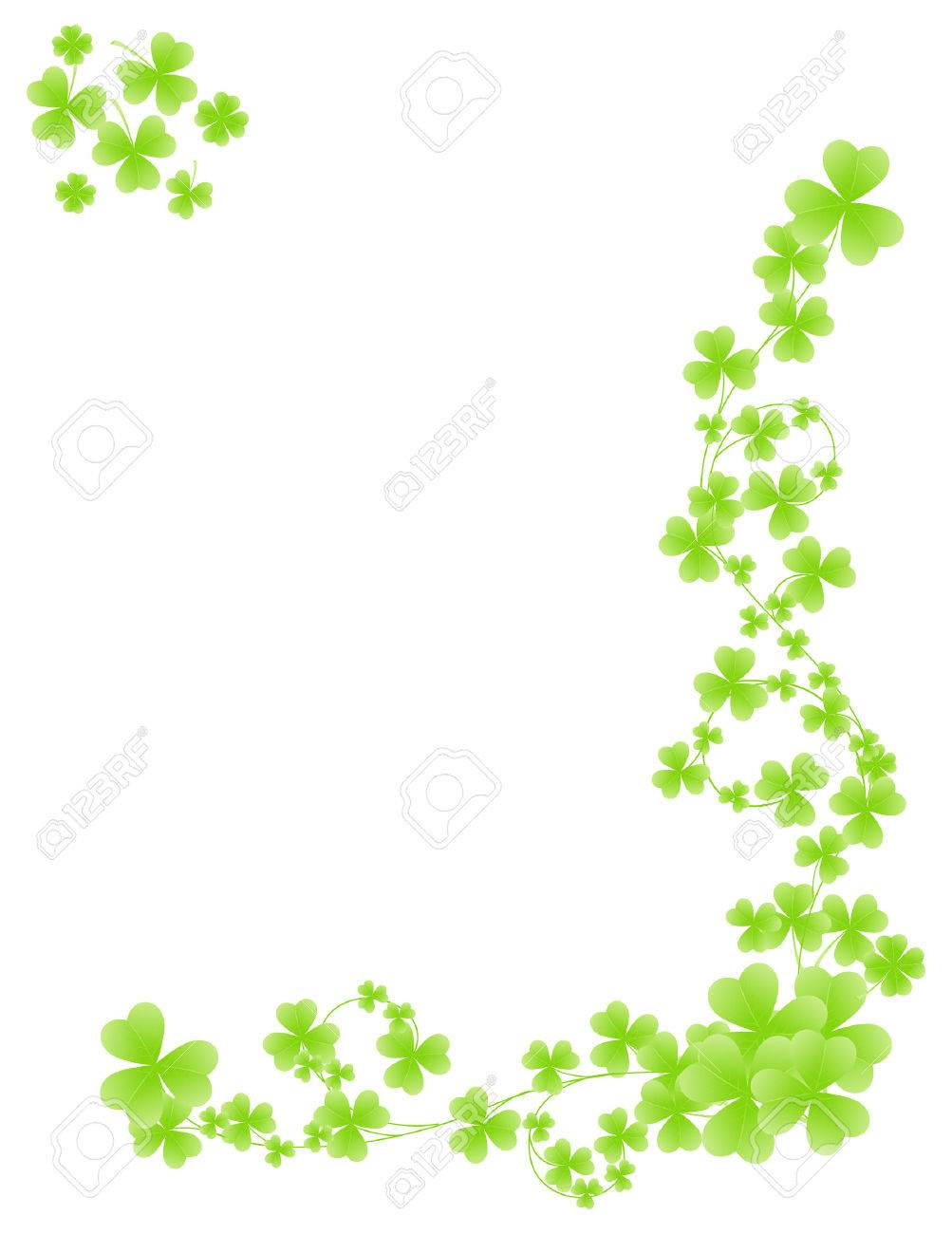 corner shamrock pattern isolated on white background royalty