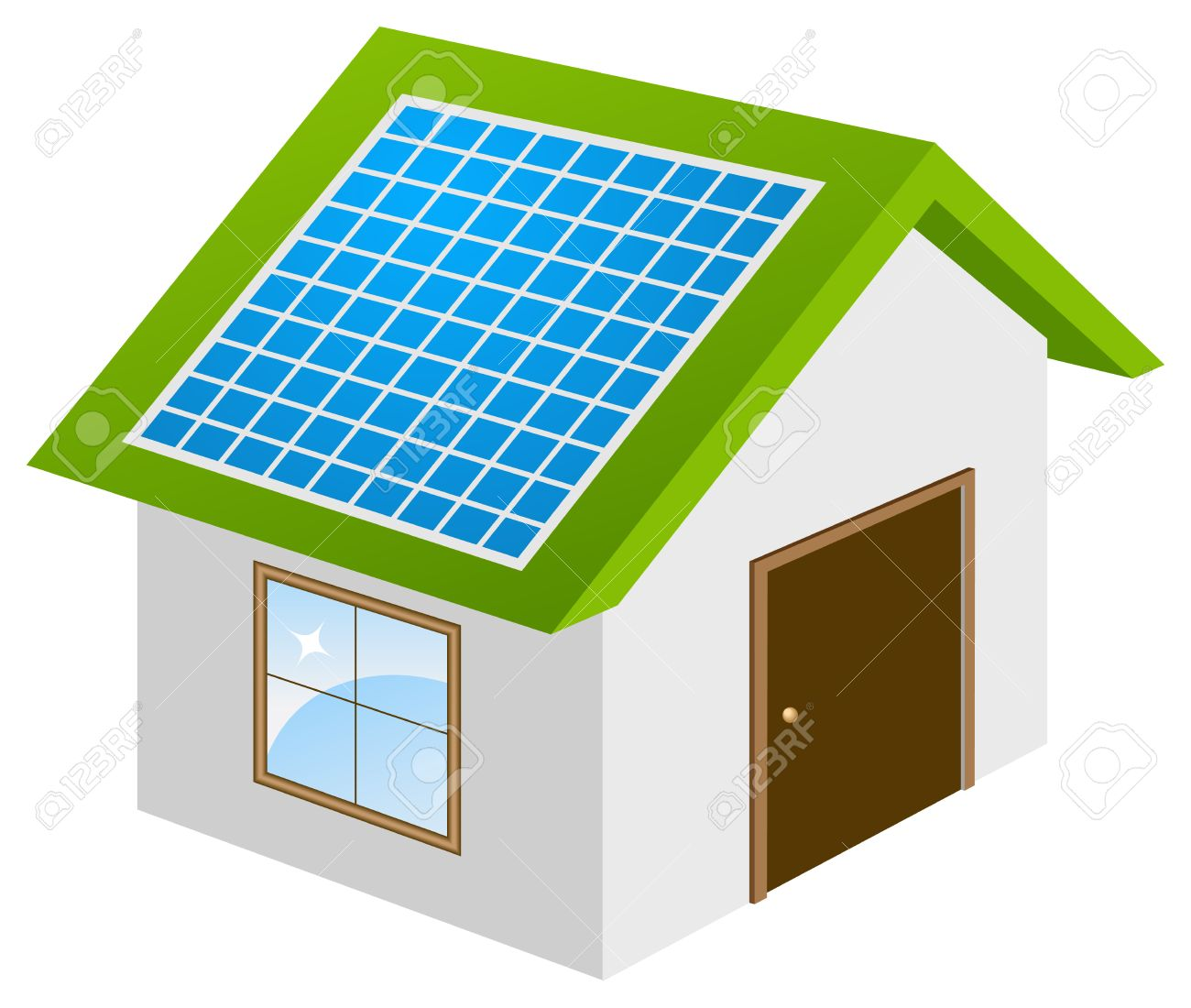Ecohouse with solar panels 3d model. Vector illustration, isolated on a white. Stock Vector - 6559898