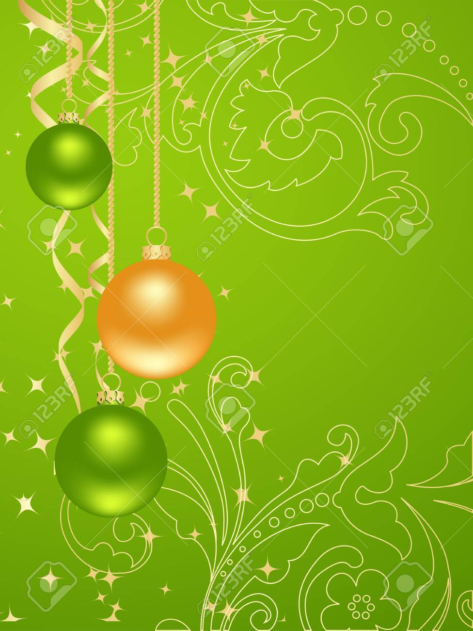 Green background with new year decorations Stock Vector - 7911023