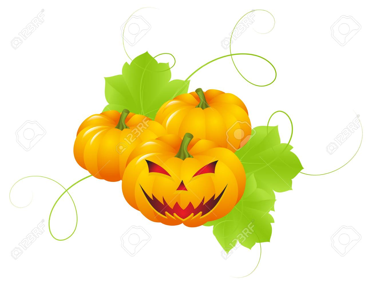 Pumpkins with leaves and a terrible physiognomy. Decoration for halloween Stock Photo - 7911031