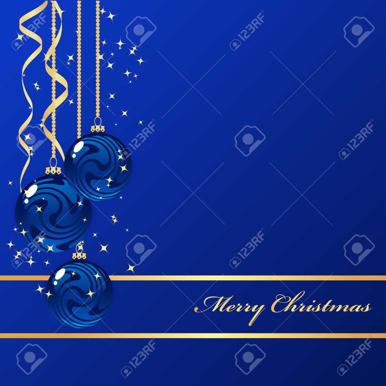 Blue and gold christmas decorations - Blue Background With Christmas Decorations Stock Vector 8346175