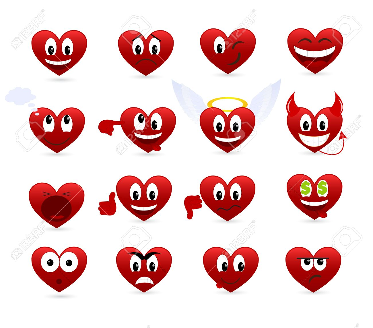 Set of smilies of heart shape with many emotions Stock Vector - 8650816