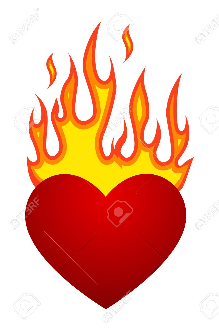 454e58d4f750 Vector Illustration With Flaming Heart At Fire Royalty Free Cliparts ...