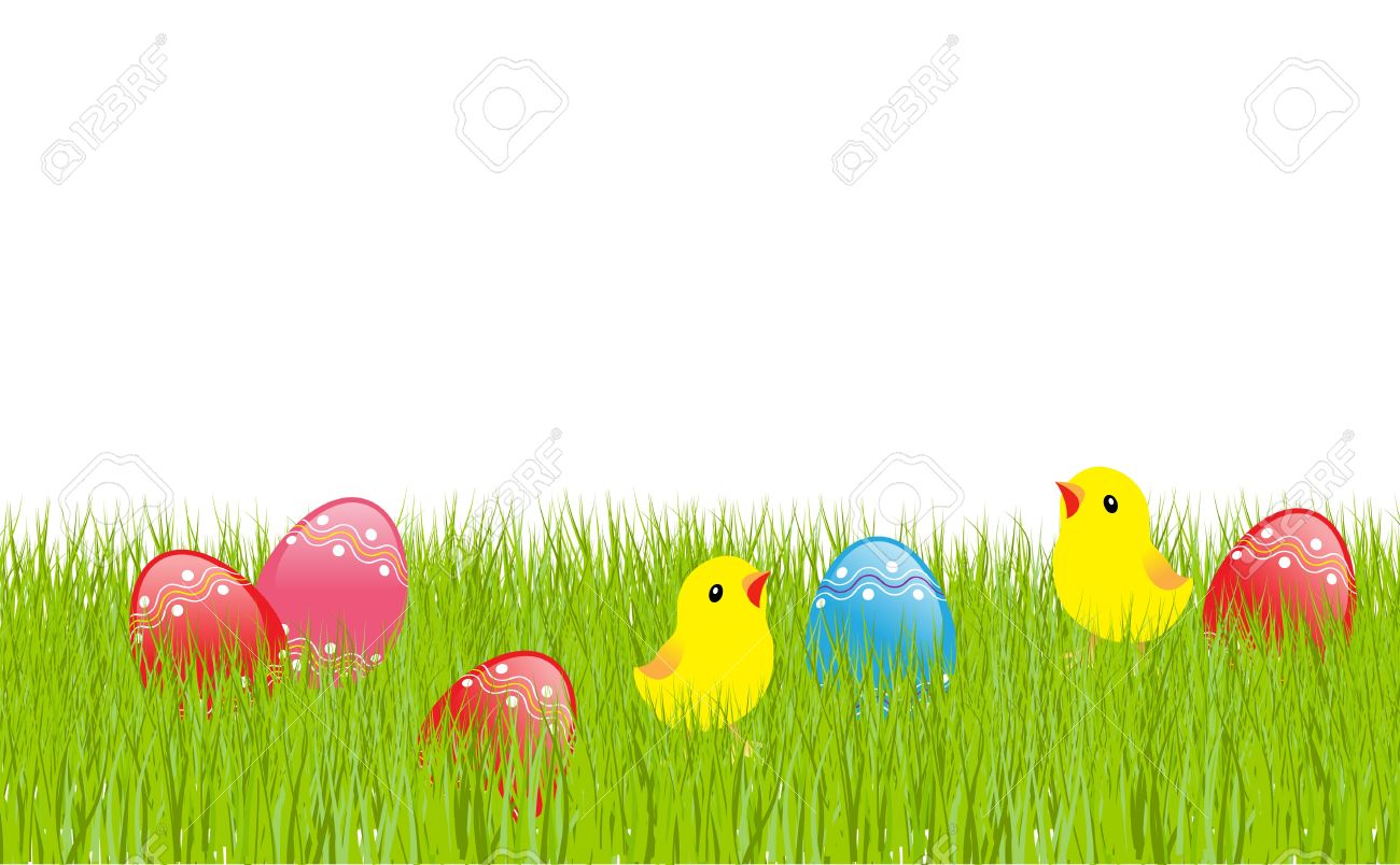 Easter landscape: colored eggs in green grass, cartoon chickens. illustration Stock Vector - 9102249