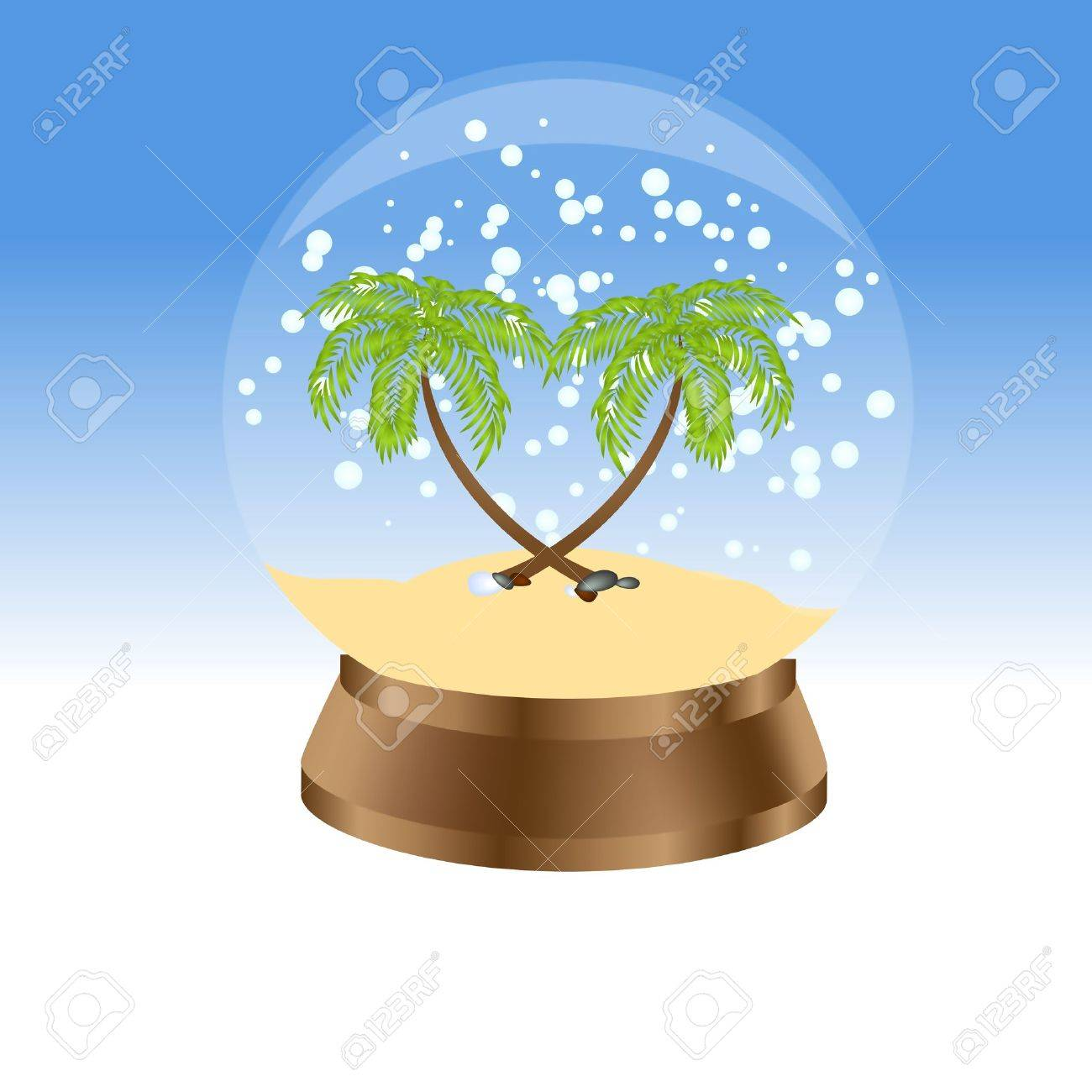 Snow globe with palm trees. Vector illustration. Stock Vector - 10998808