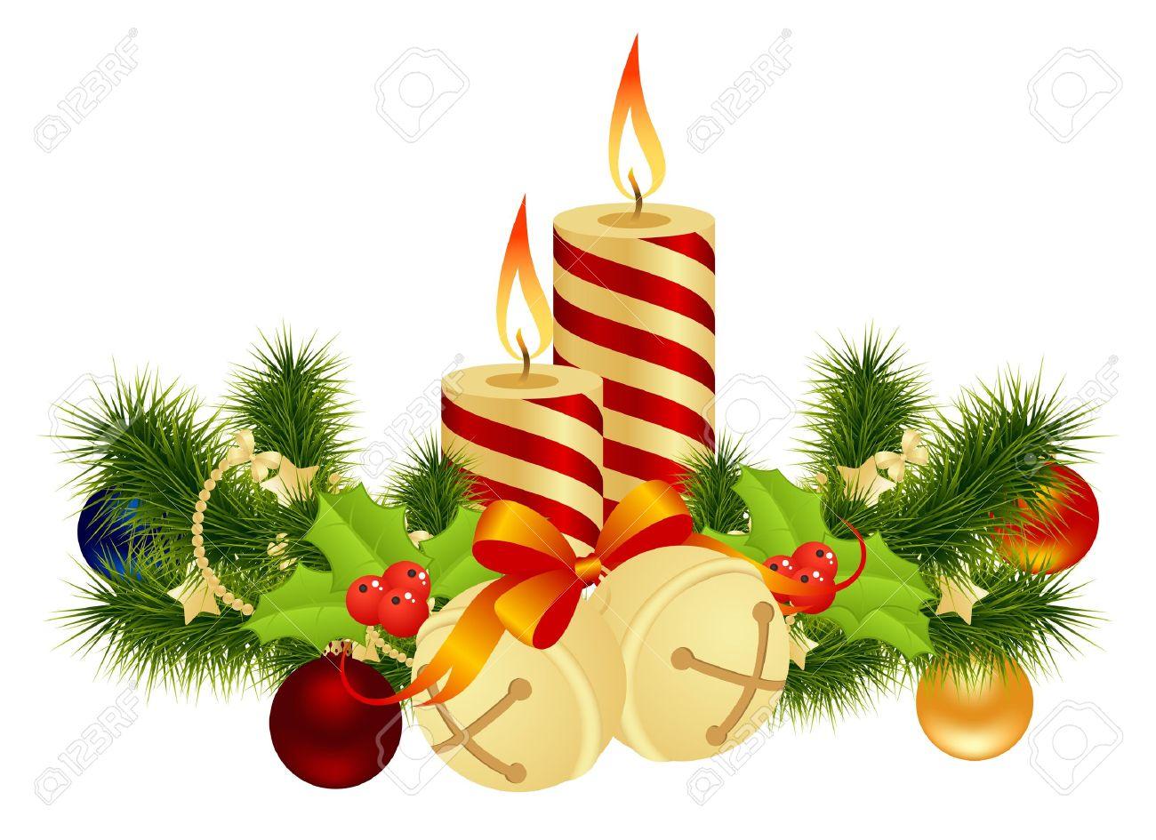 Decoracion De Navidad Con Velas Ilustracion Vectorial - Velas-de-navidad