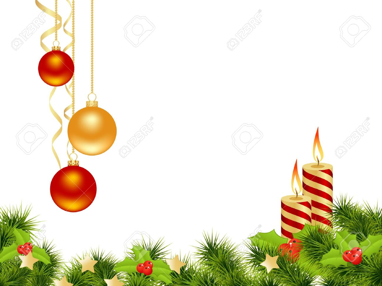 Christmas card white background with decoration. Vector illustration. Stock Vector - 11246084