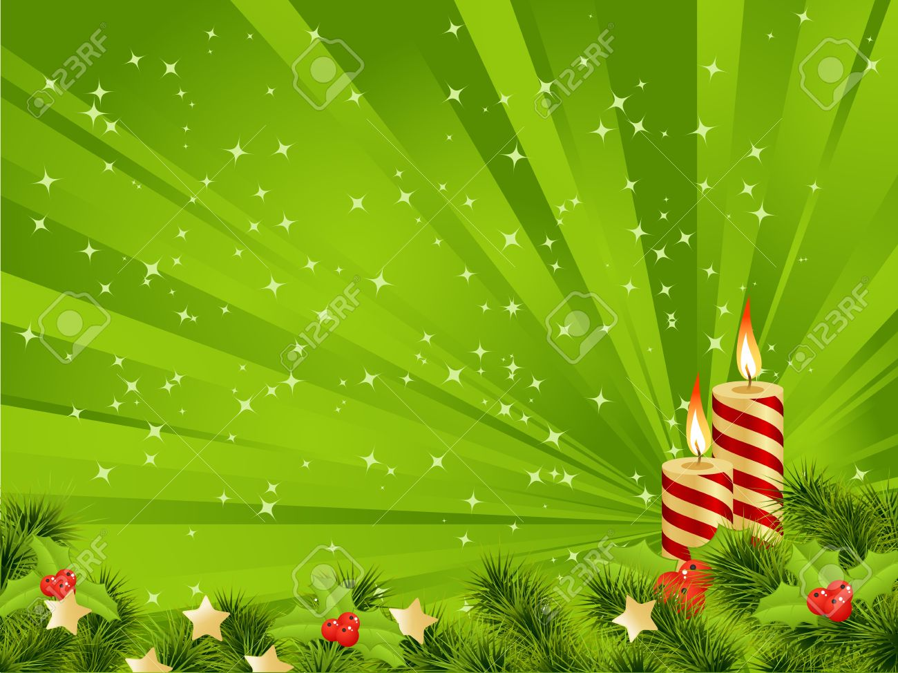 christmas card green background with decoration vector illustration stock vector 11246083