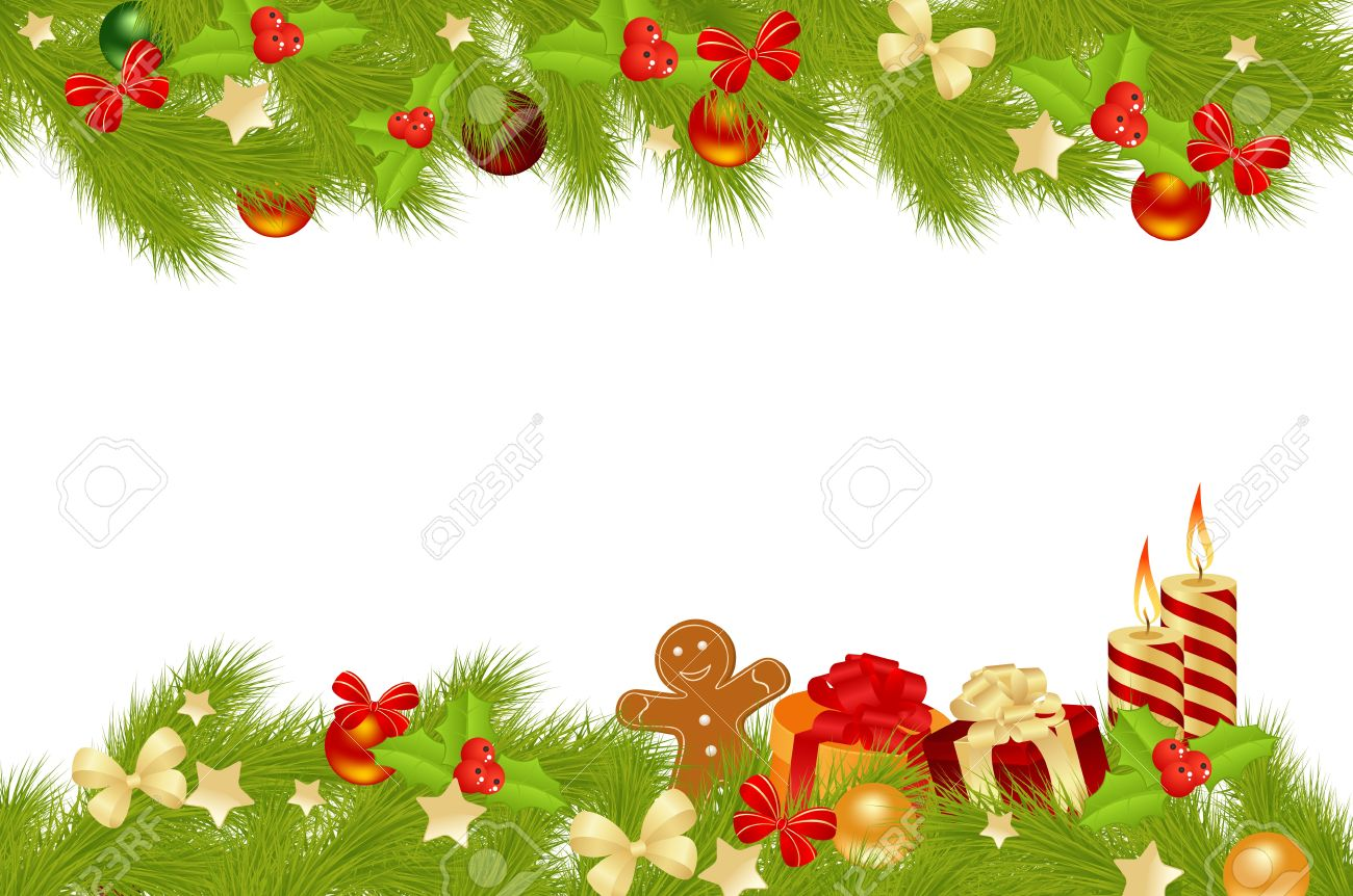 Christmas Card Background With Decorations. Vector Illustration ...