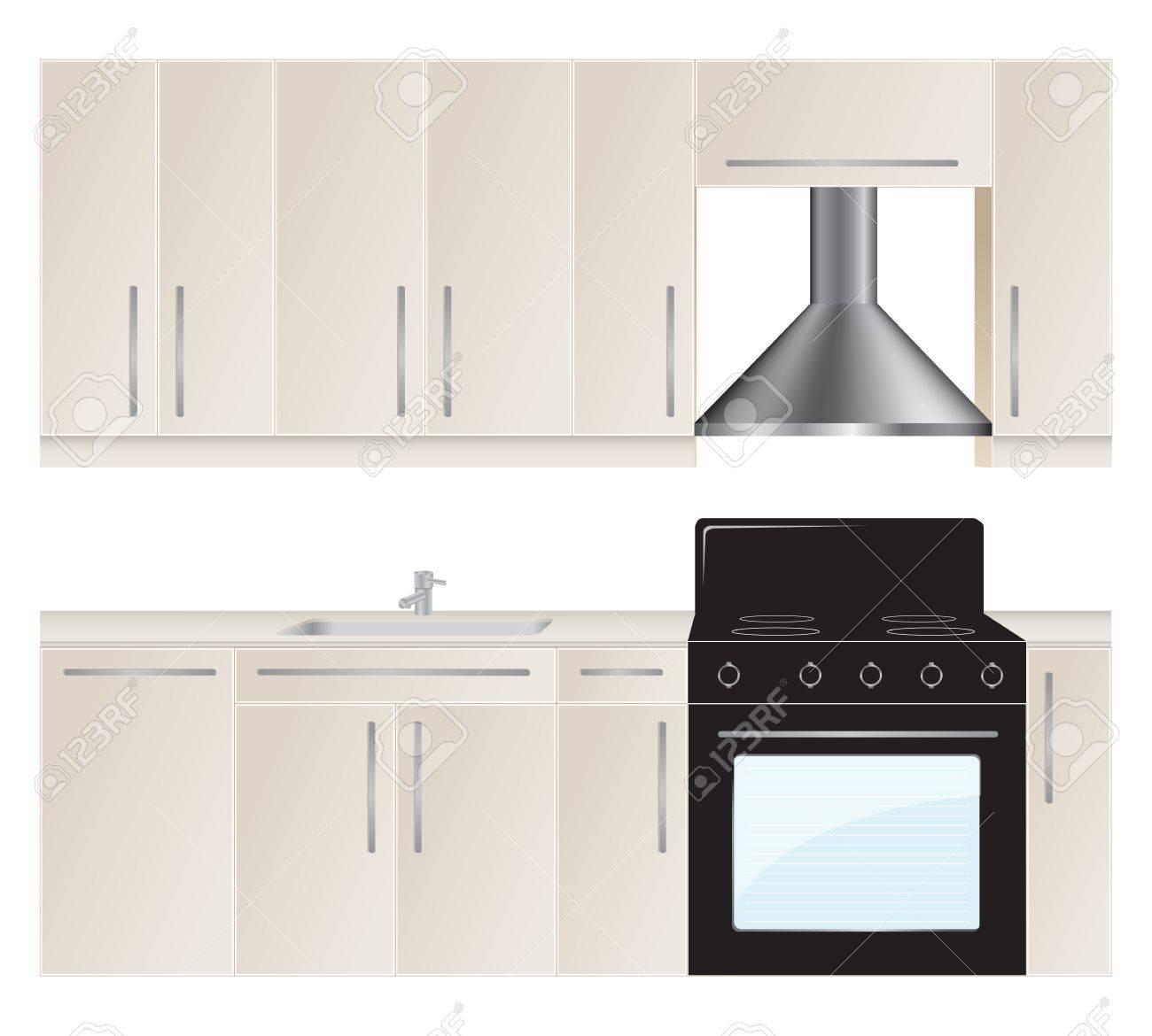 Kitchen furniture set. Vector illustration. Stock Vector - 12136975