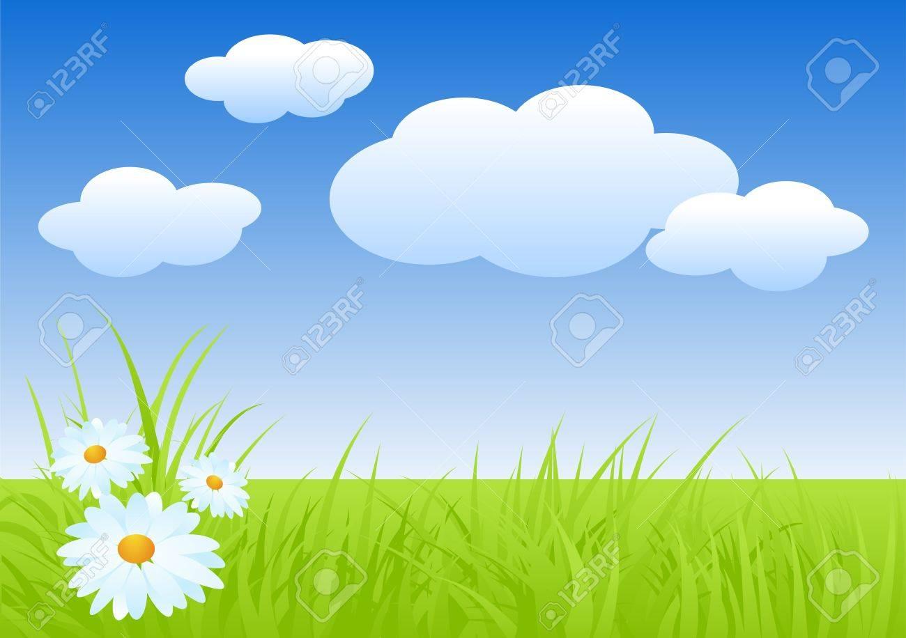 Fresh nature landscape in spring. Vector illustration. Stock Vector - 12932417