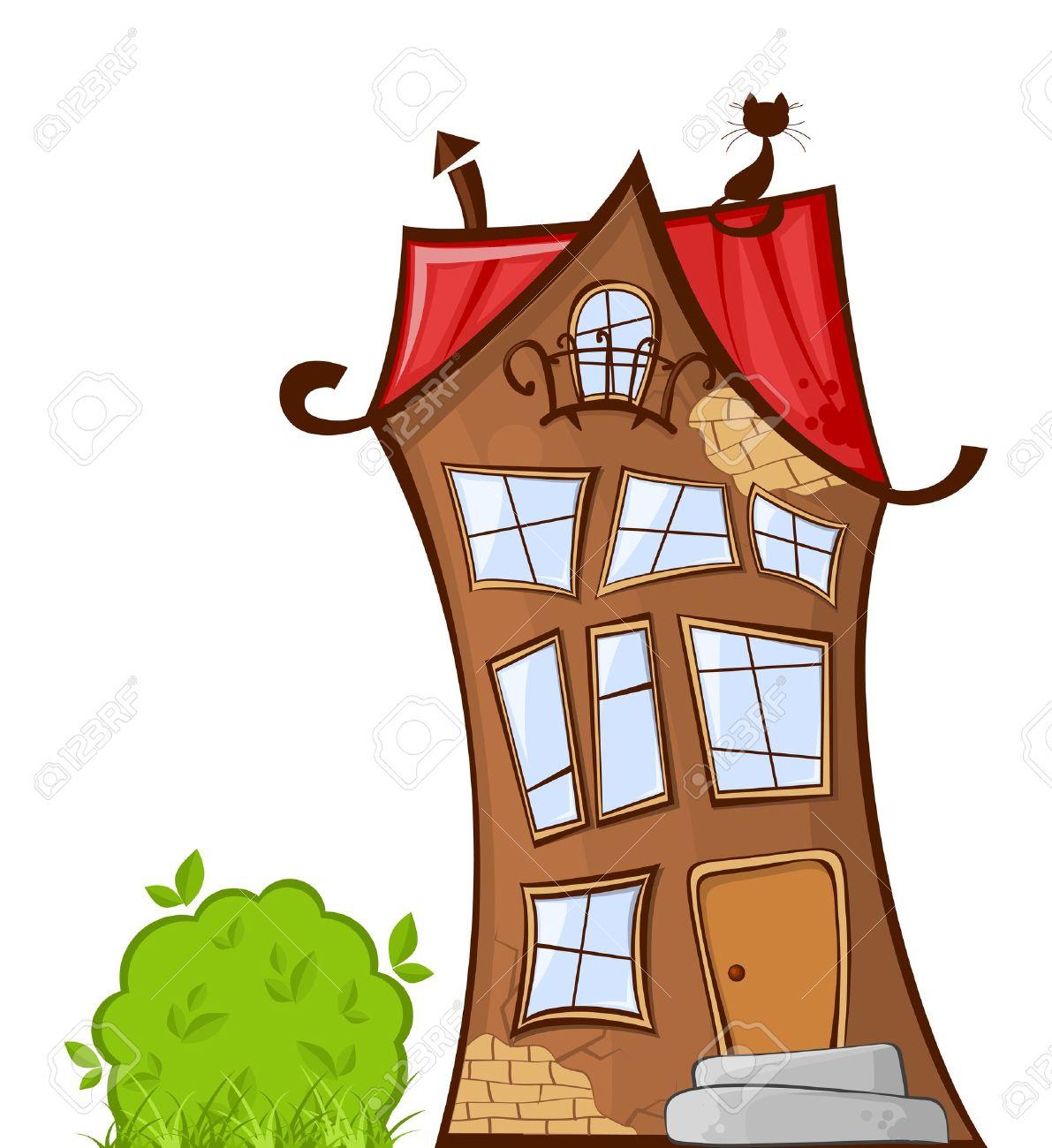 Darstellung Der Kühle Karikatur Haus Isoliert Auf Weißem Hintergrund ...