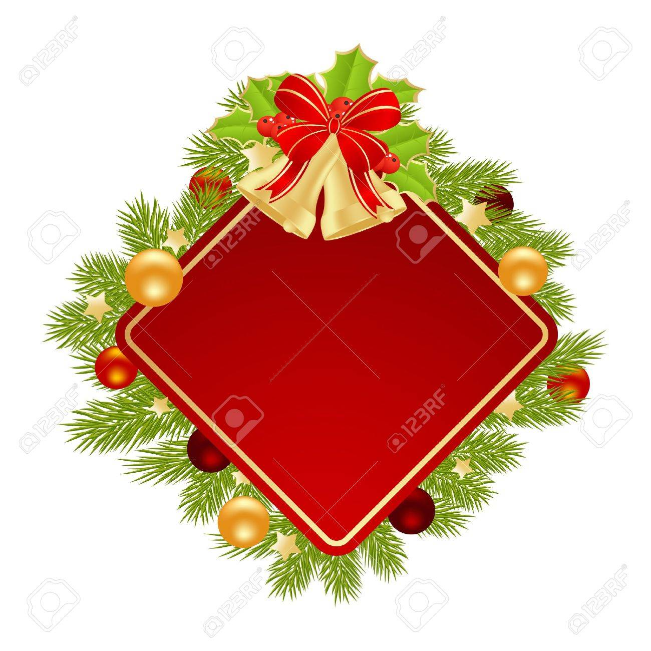 template christmas card with christmas decorations vector
