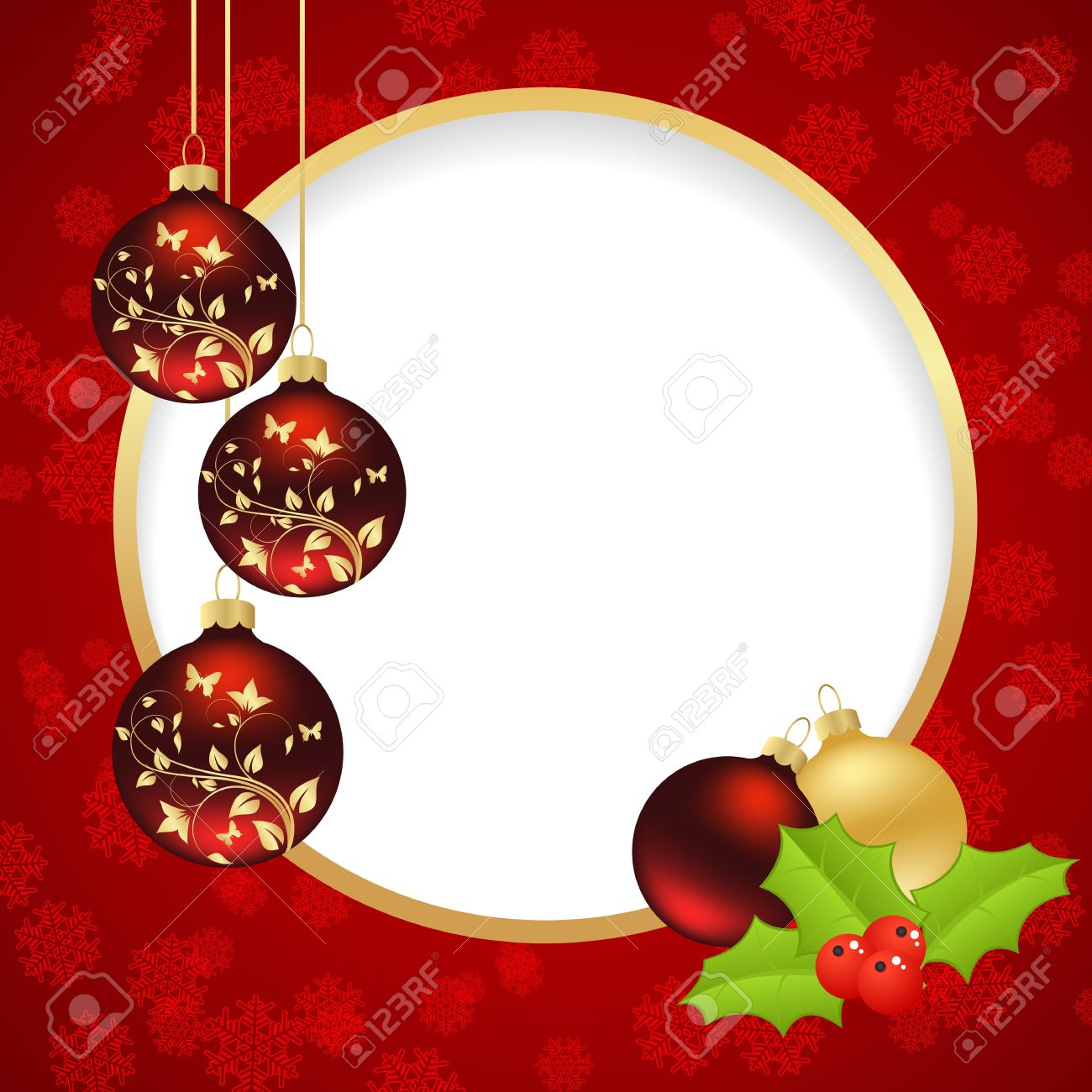 Template Christmas Card With Round Hole Vector Illustration Royalty