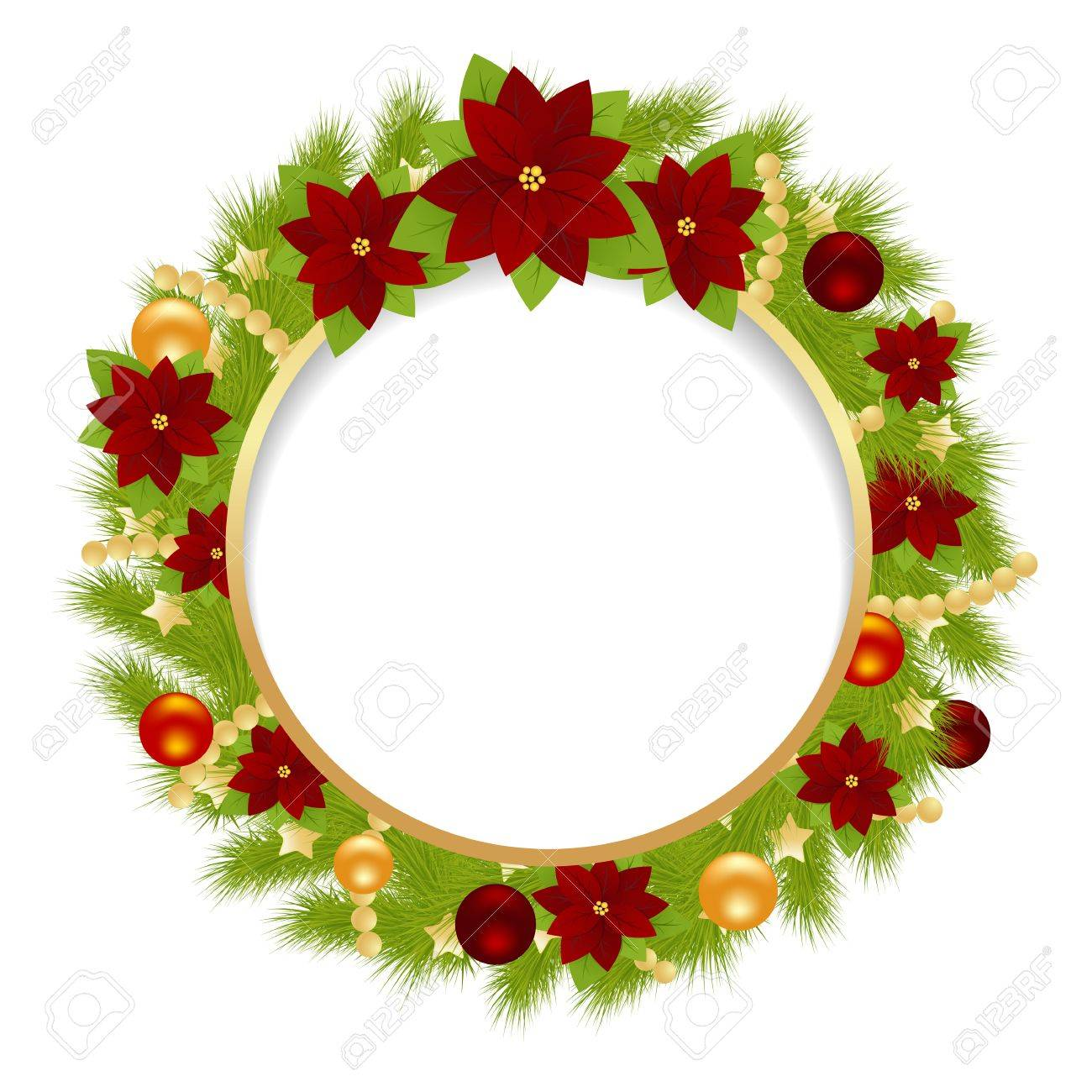 Christmas Wreath With Christmas Decorations Isolated On A White ...