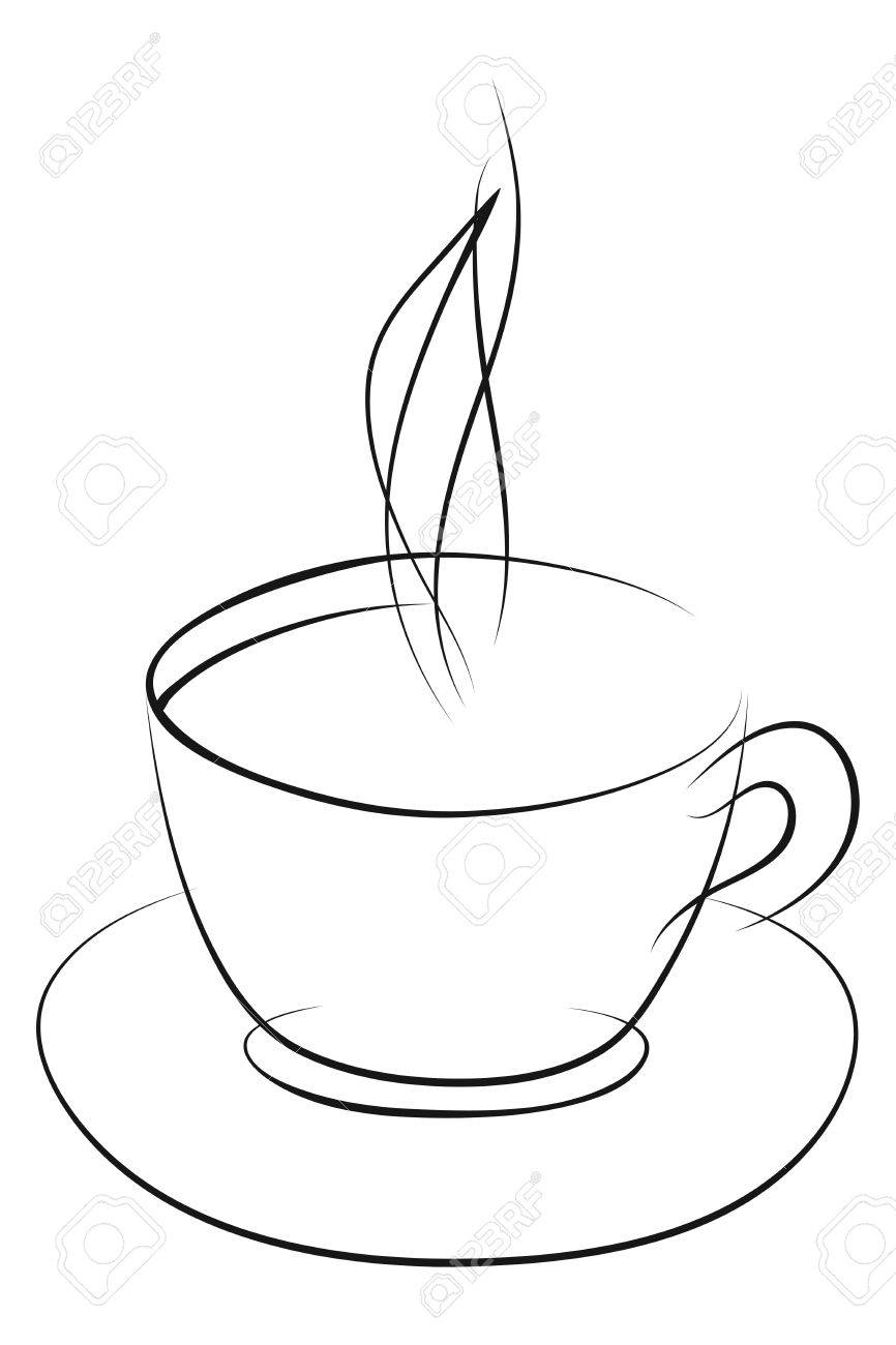 Coffee cup sketch - Sketch Of Coffee Cup On A White Stock Vector 24021307