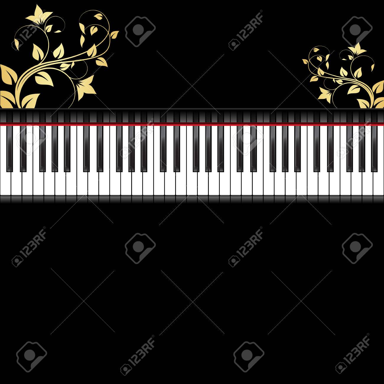 Piano Black Background Black Piano Decorated by Gold