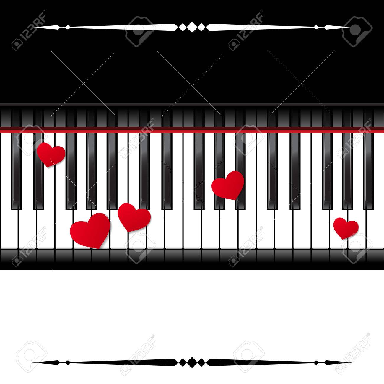Template With Piano Keyboard On White And Black Background Vector Illustration Stock