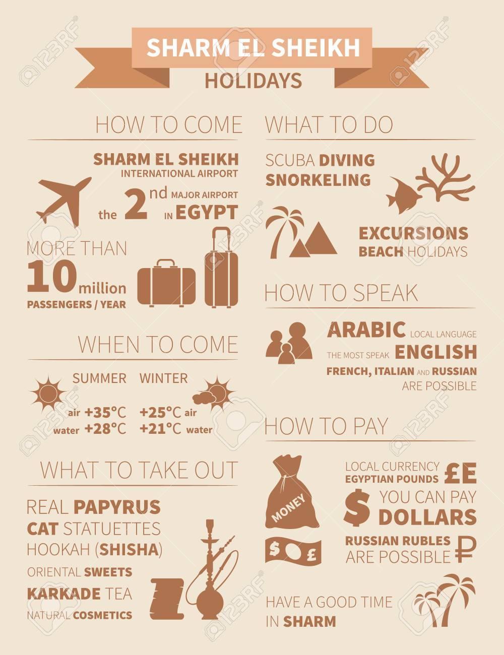 Holidays in Sharm el Sheikh infographics  Vector illustration