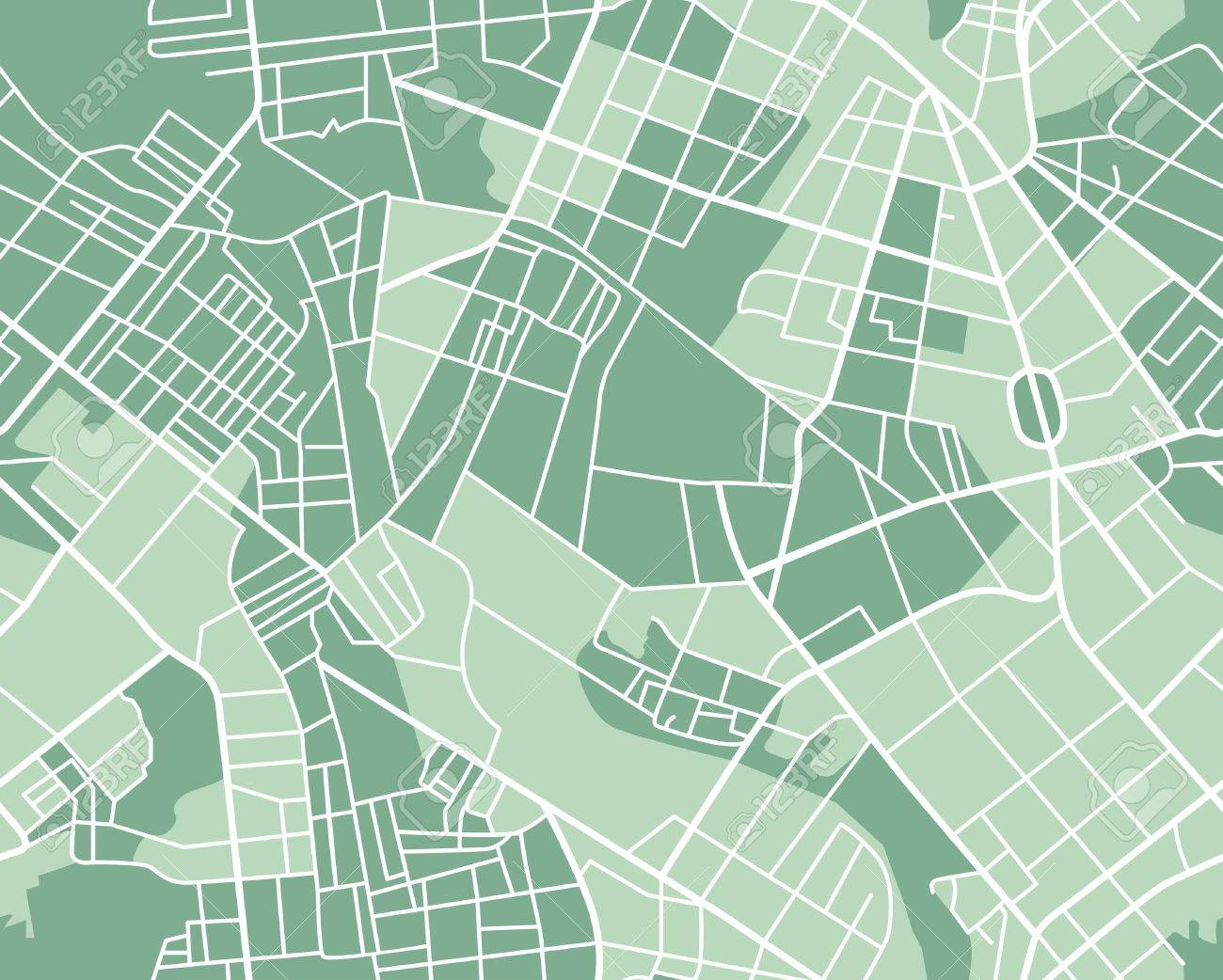 Editable vector street map of town as seamless pattern. Vector illustration. - 40548994
