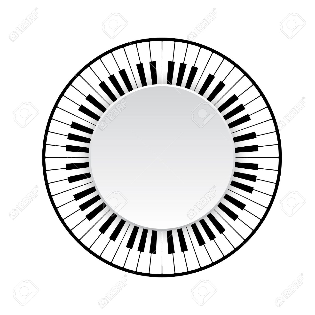 Circle Frame Of Piano Keyboard On White Background. Vector ...