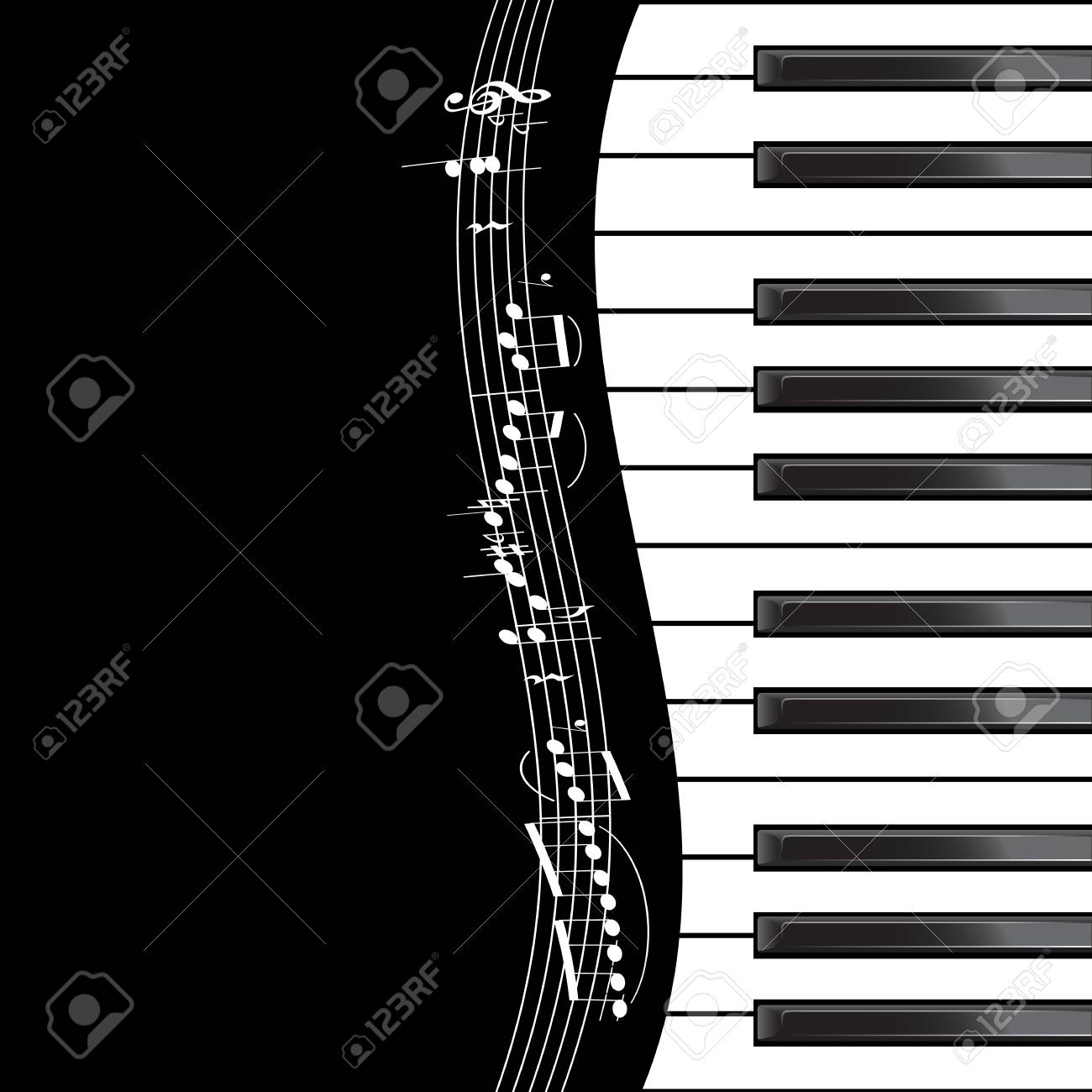 Template With Piano Keyboard With Notes On Black Background ...