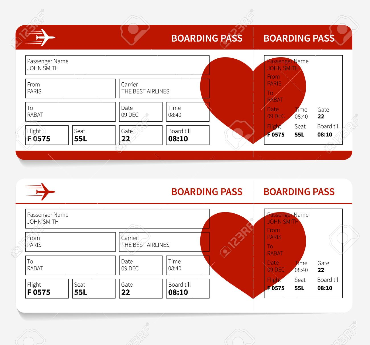 Vector Template Of Airline Boarding Pass Tickets With Heart ...