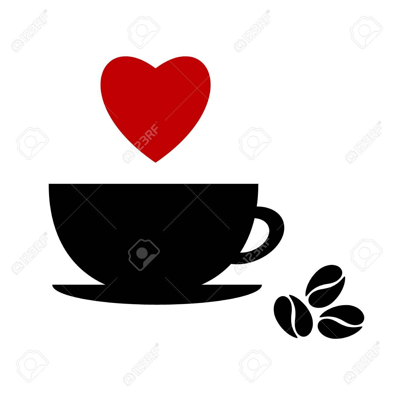 Vettoriale Una Tazza Di Caffè Nero Con Cuore Su Sfondo Bianco