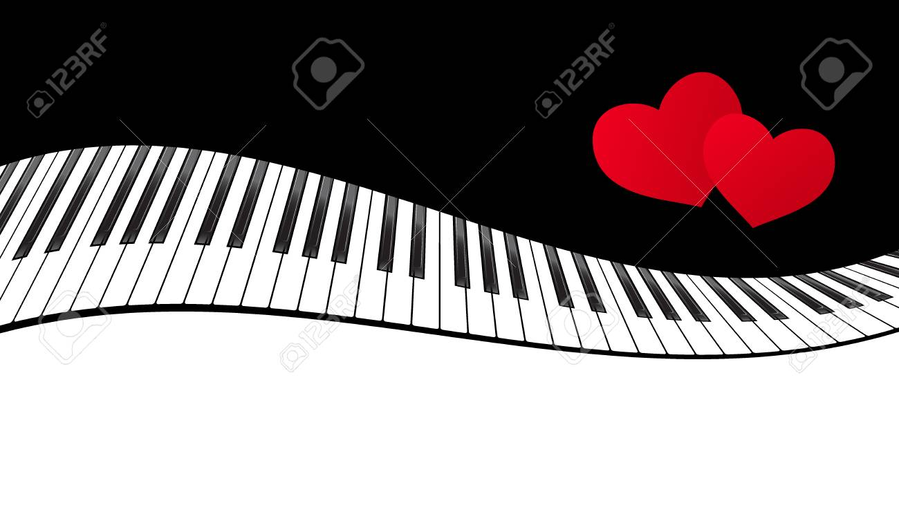 piano template with two hearts music creative concept illustration