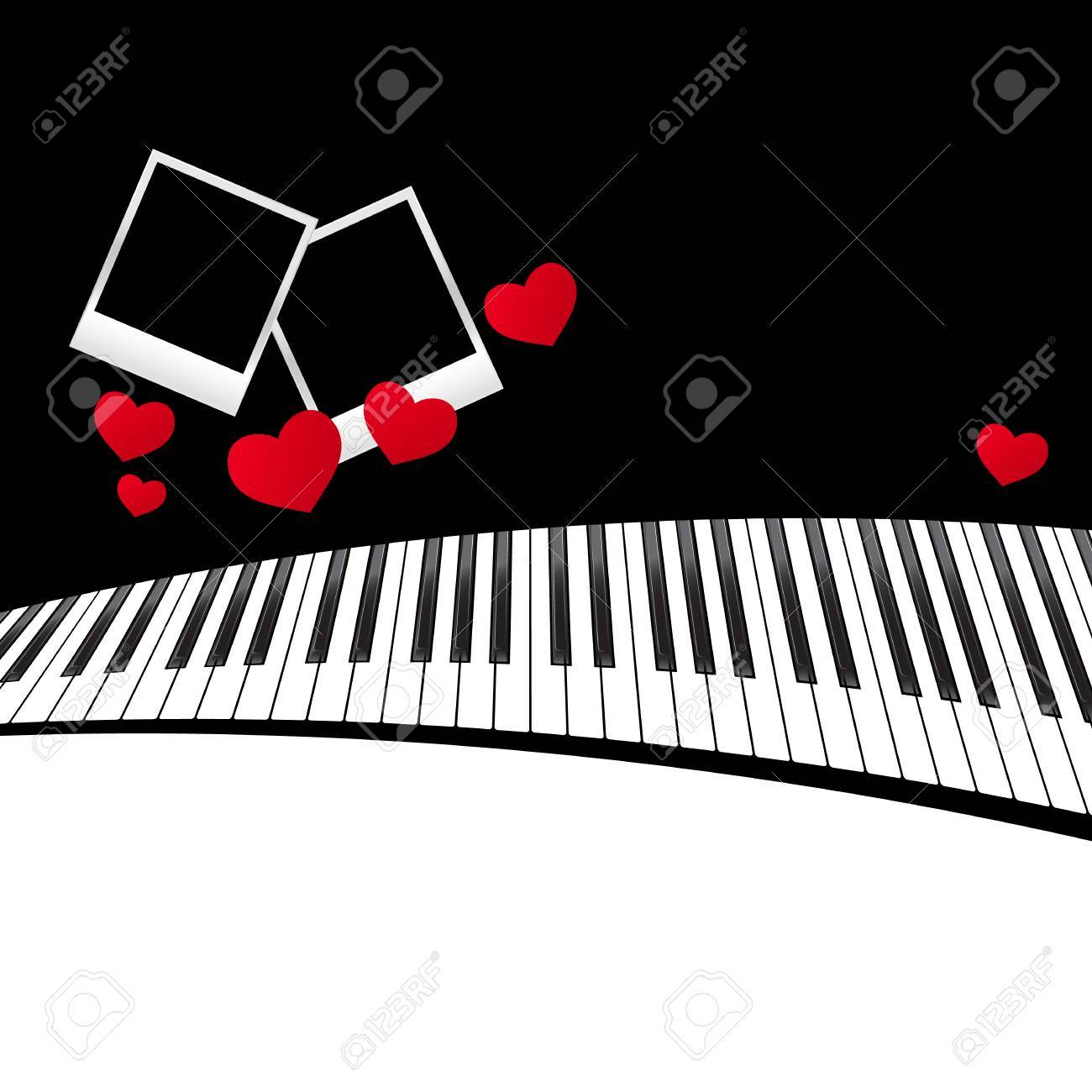 Template With Piano Keyboard On White And Black Background. Vector ...