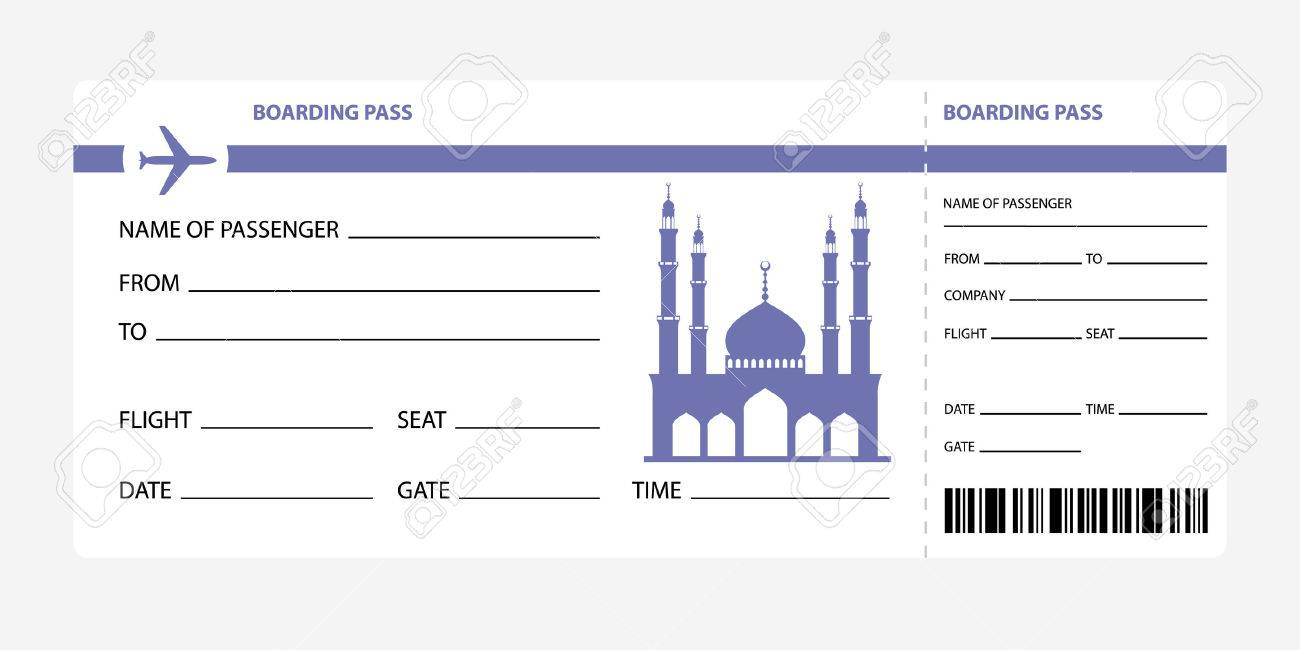 Airplane Ticket Blank Space Blue Boarding Pass Coupon Isolated