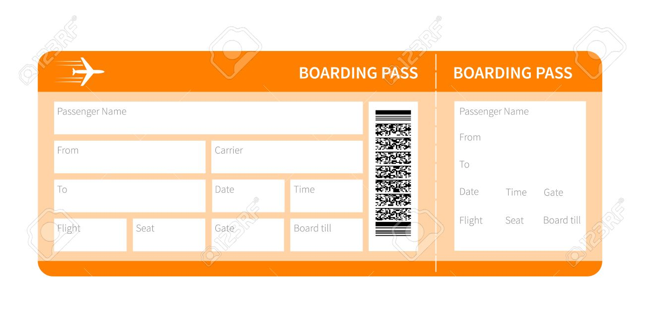 Airplane ticket blank space. yellow boarding pass coupon isolated on white background. Vector illustration - 47677061